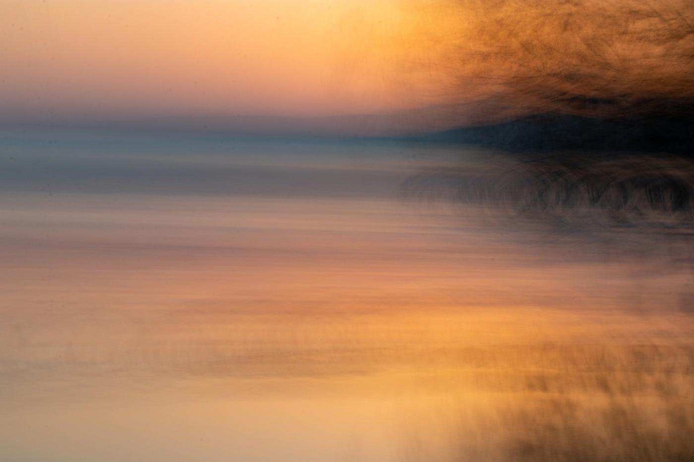 ICM photography, Lake Léman sunset