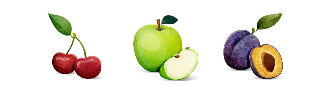 apple brand design garden ILLUSTRATION  Nature Pack Packaging paint people