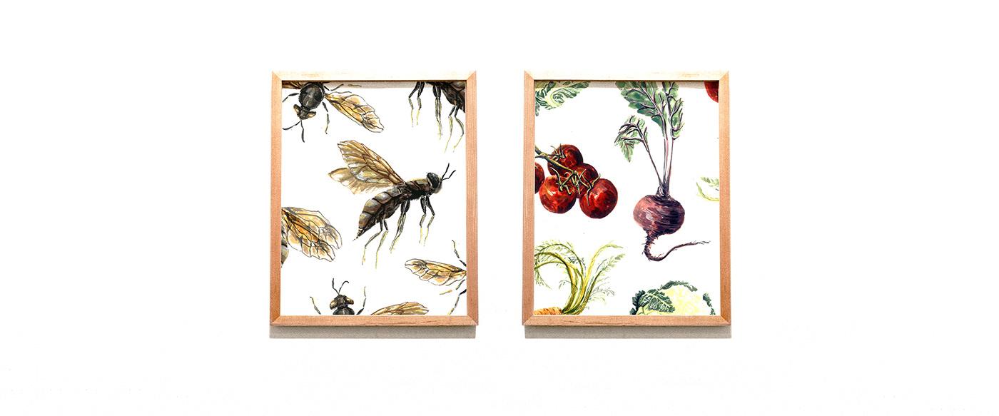 Drawing  Food  graphic design  ILLUSTRATION  packaging design painting   pattern design  surface design vegetables wine