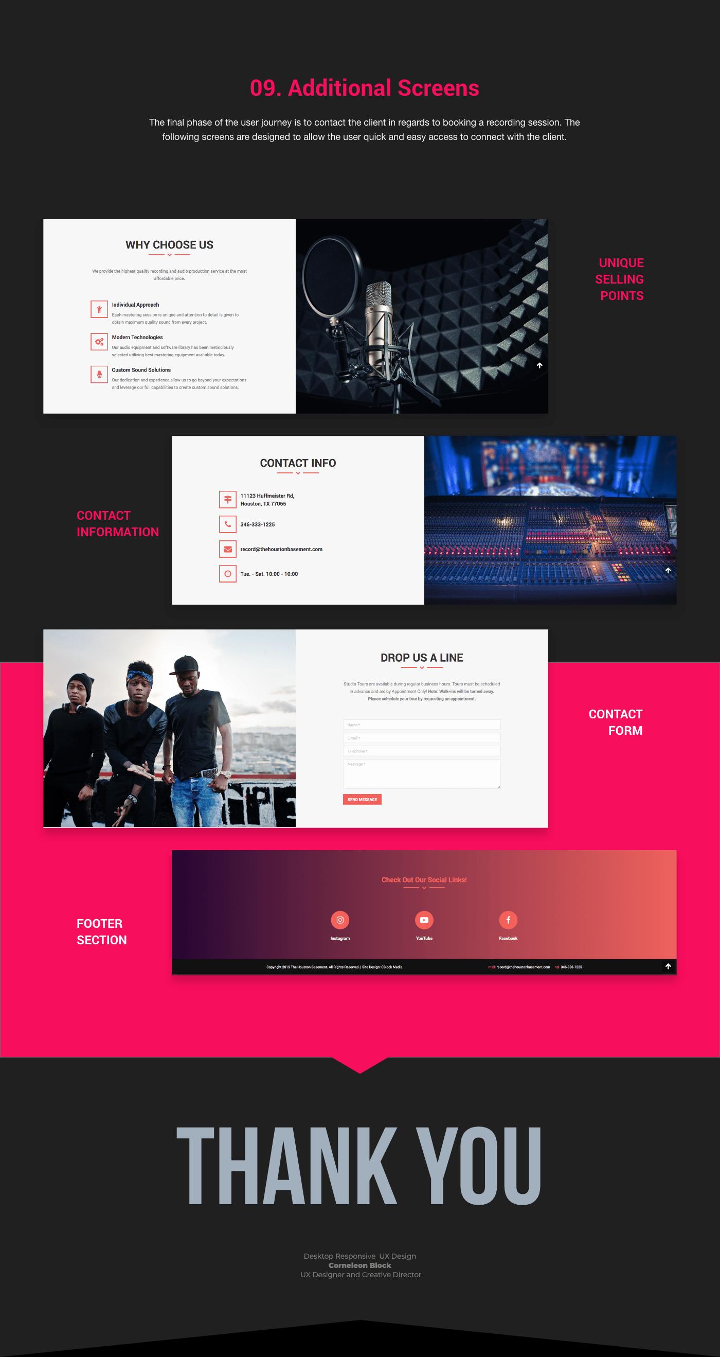 Adobe XD ux music cblockmedia Corneleon Block Houston Texas media player Single Page UX process Website