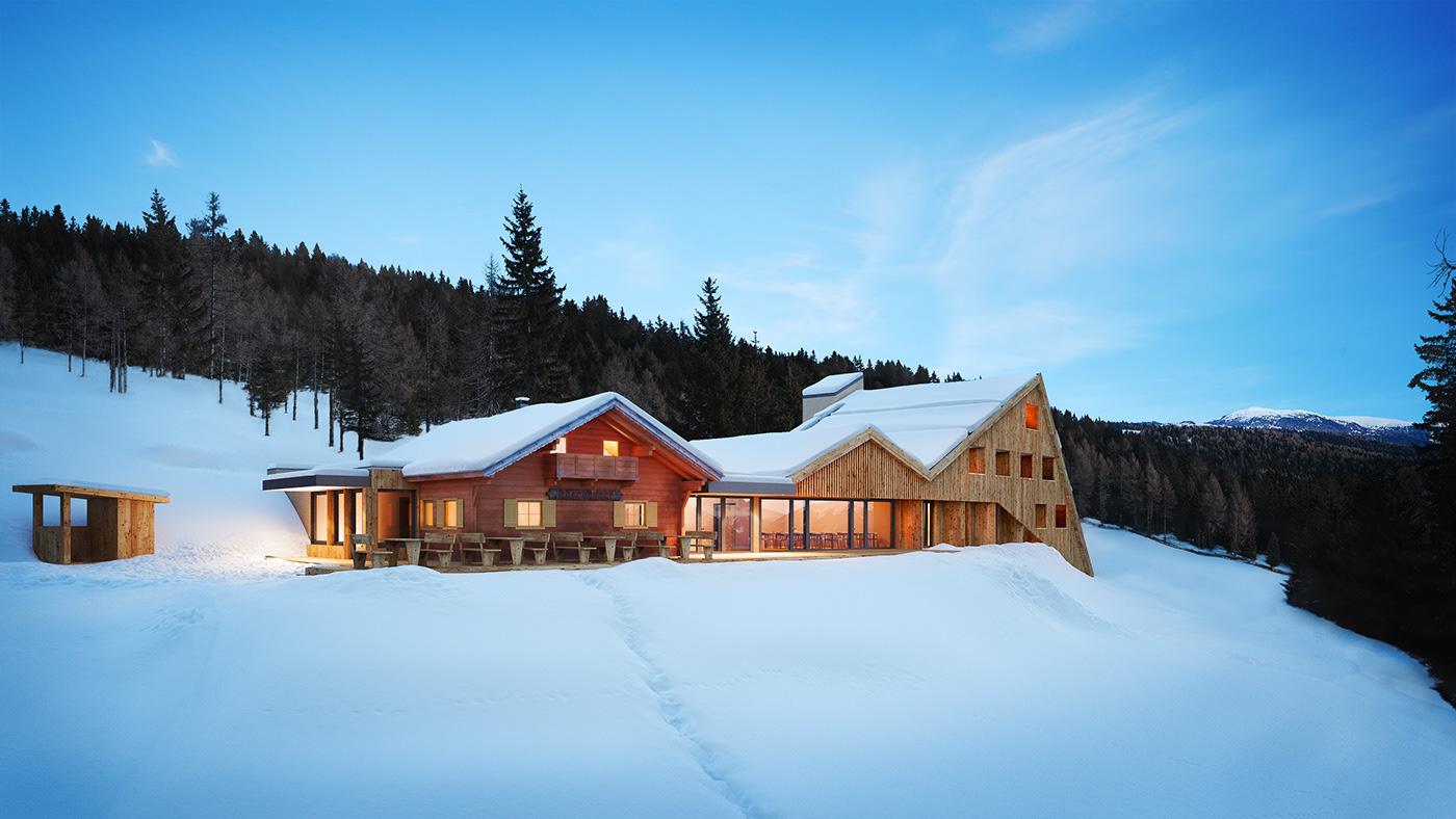 alpine architecture archviz south tyrol visualisation