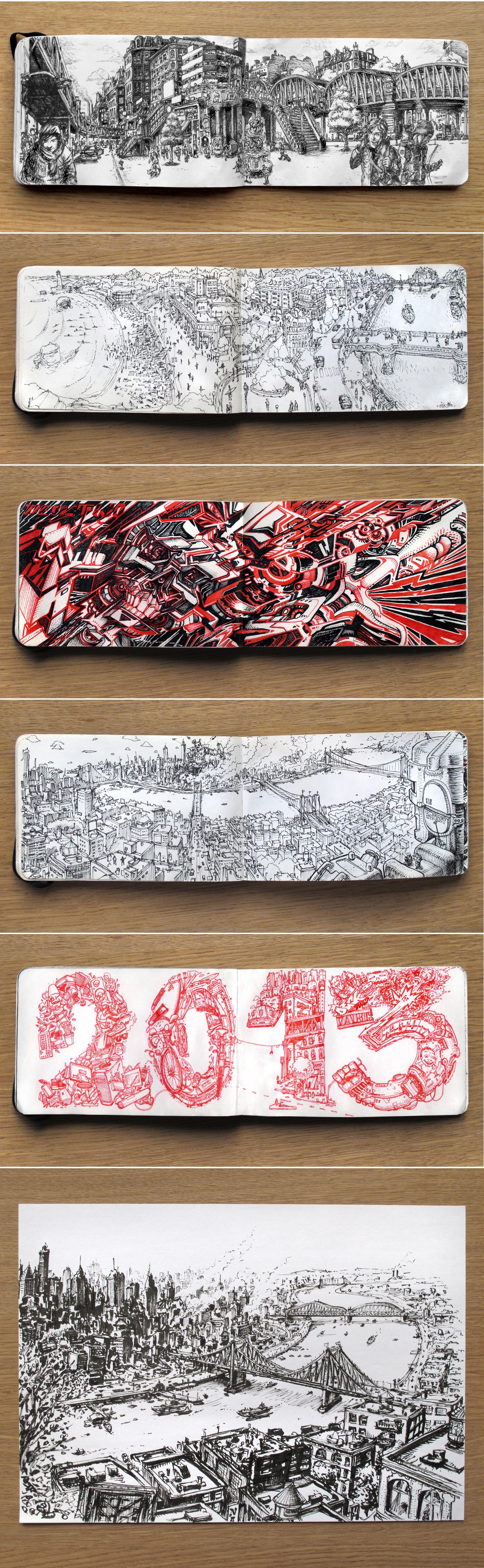 moleskine pen Landscape Biarritz New York doodles sketchs ink Pentel