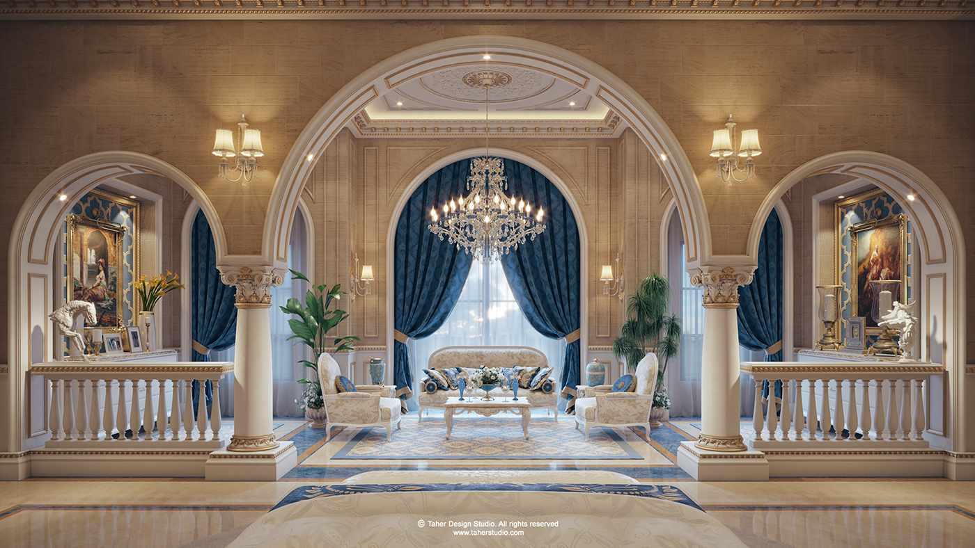 Luxury mansion interior qatar on behance for Mansion interior design