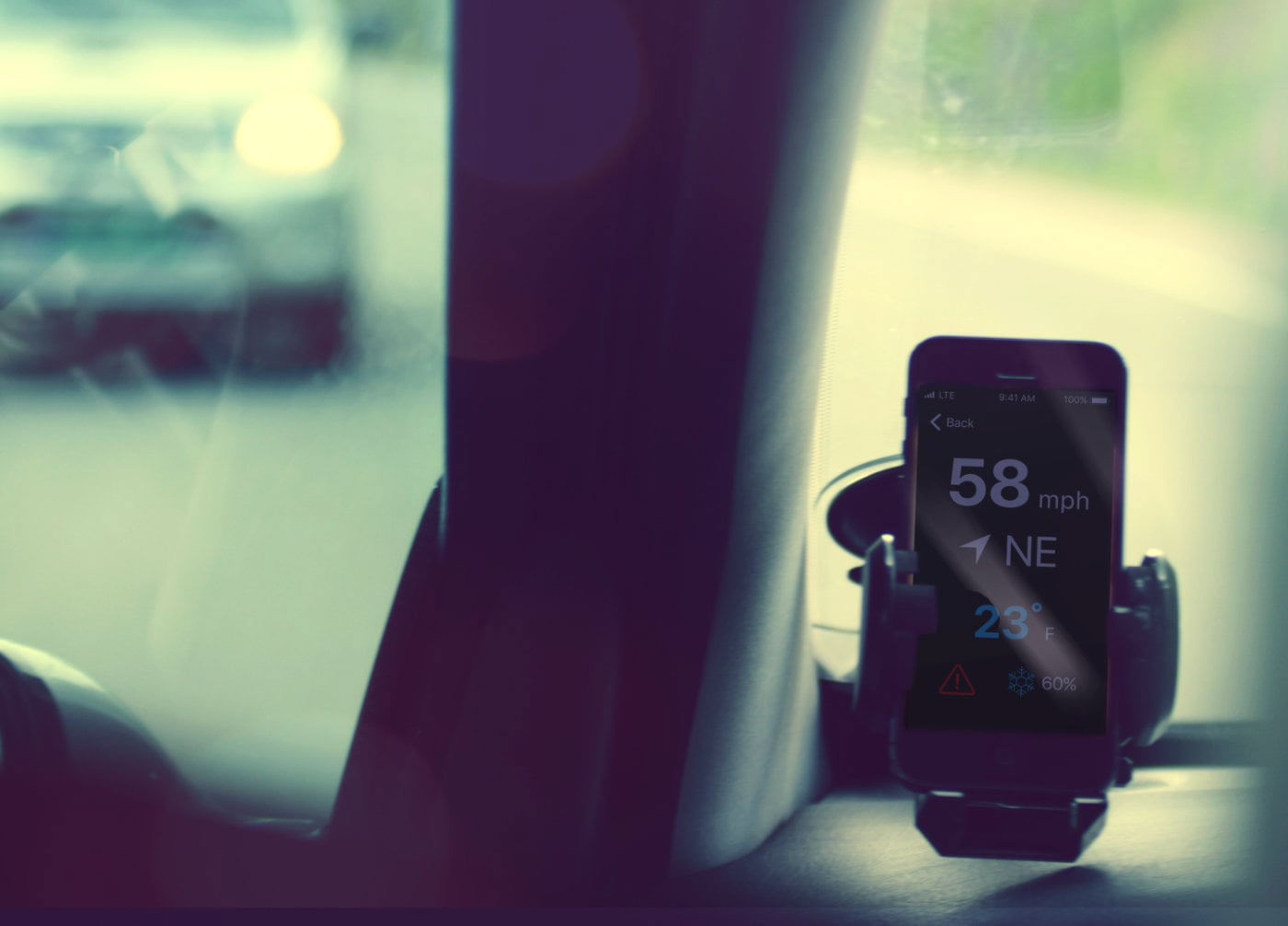 HUD heads up display iphone ios app drive Driving weather music car
