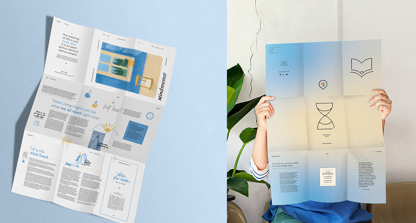 brand identity campaign cardset Memo mental health mind Packaging poster slow living youth