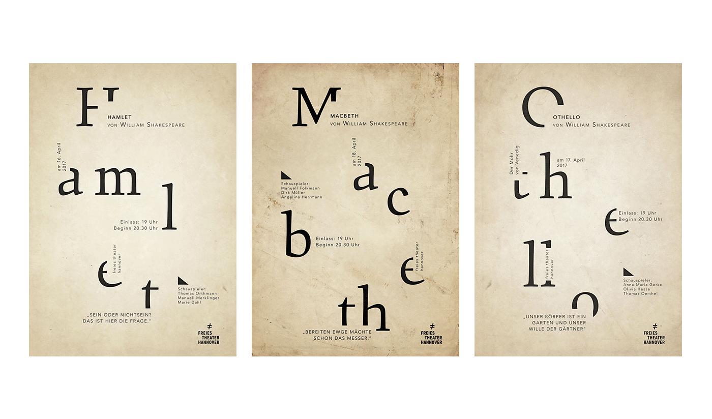shakespeare Macbeth Othello hamlet wall prints Plakate type typology franko schiermeyer