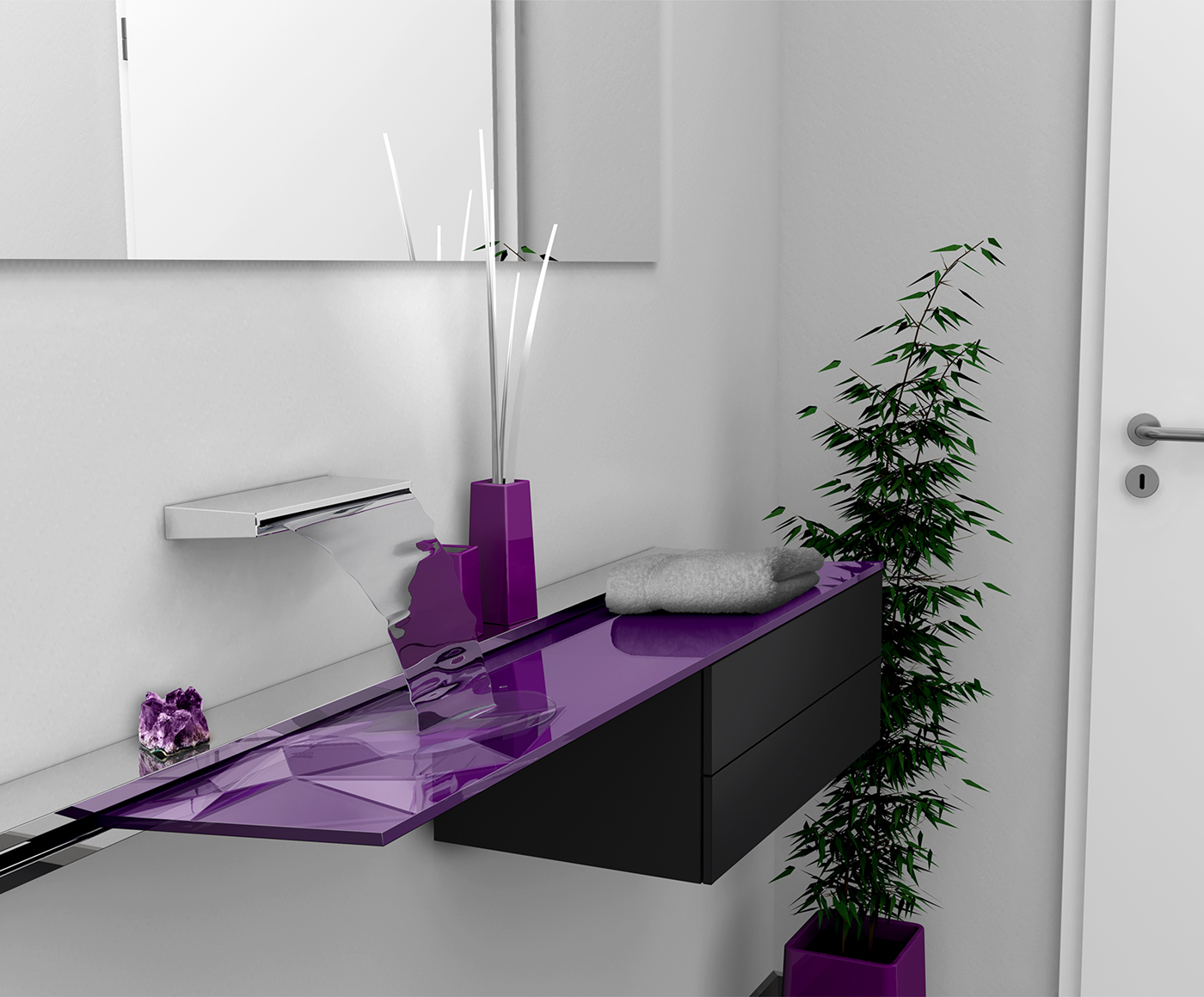 Sink bathroom rail Board water TAP aluminum aluminium Extrusion minimal metal glass stone relief structure
