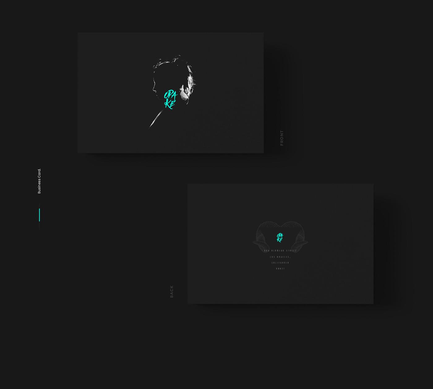 branding  logo print design  graphic desing opake art collective ILLUSTRATION  business card black