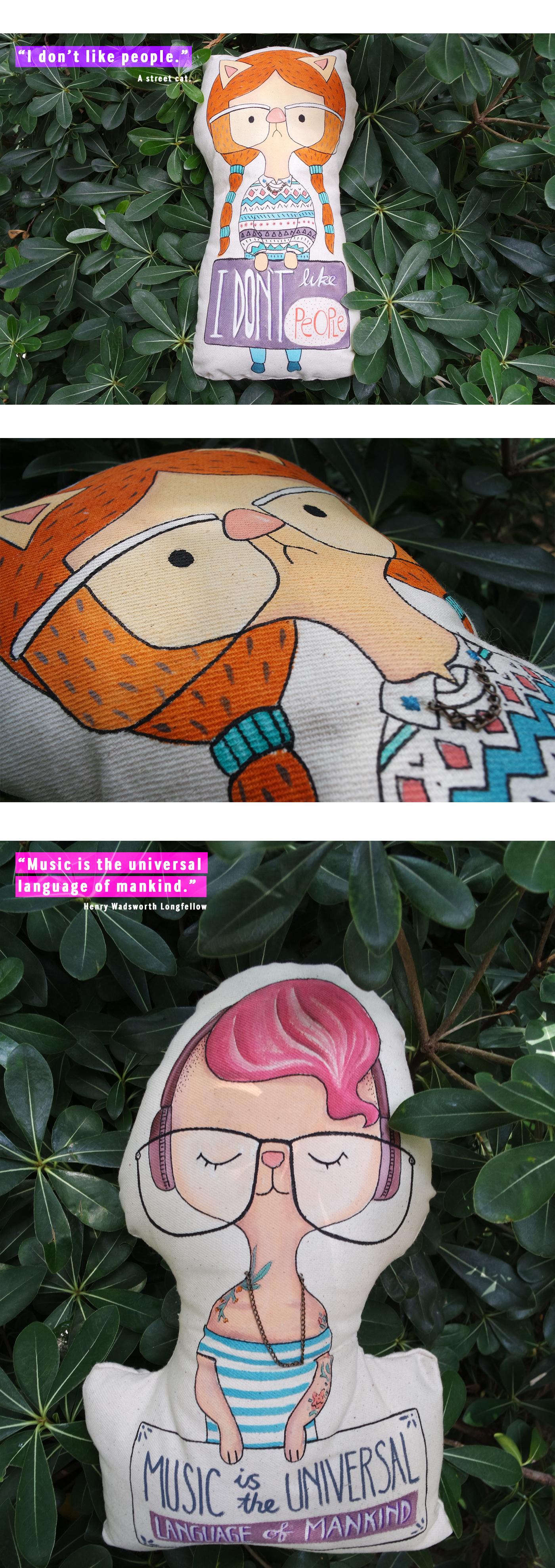 do la fiti doll handpainted doll handmade illustrated doll Hand Painting animals George Orwell Nature