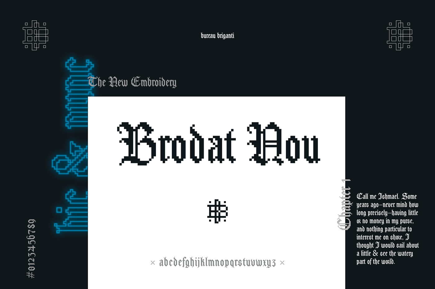 Blackletter gothic pixel typography   font Embroidery brodat textura