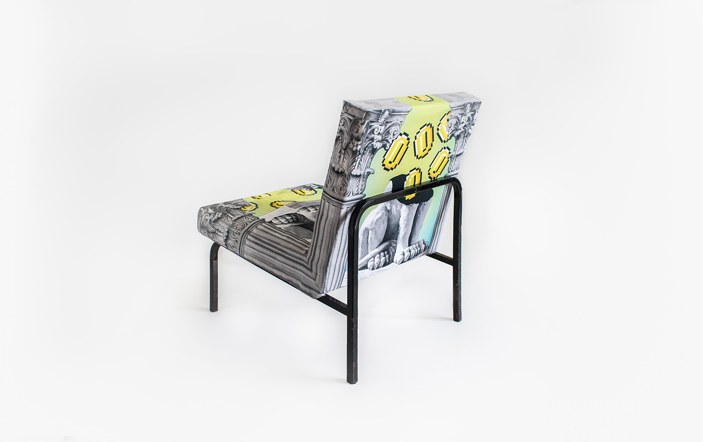 kitsch textile fabric design armchair cover madeineger