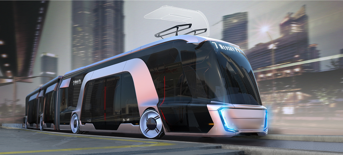 car concept electric bus Transportation Design design model city bus kamaz industrial design