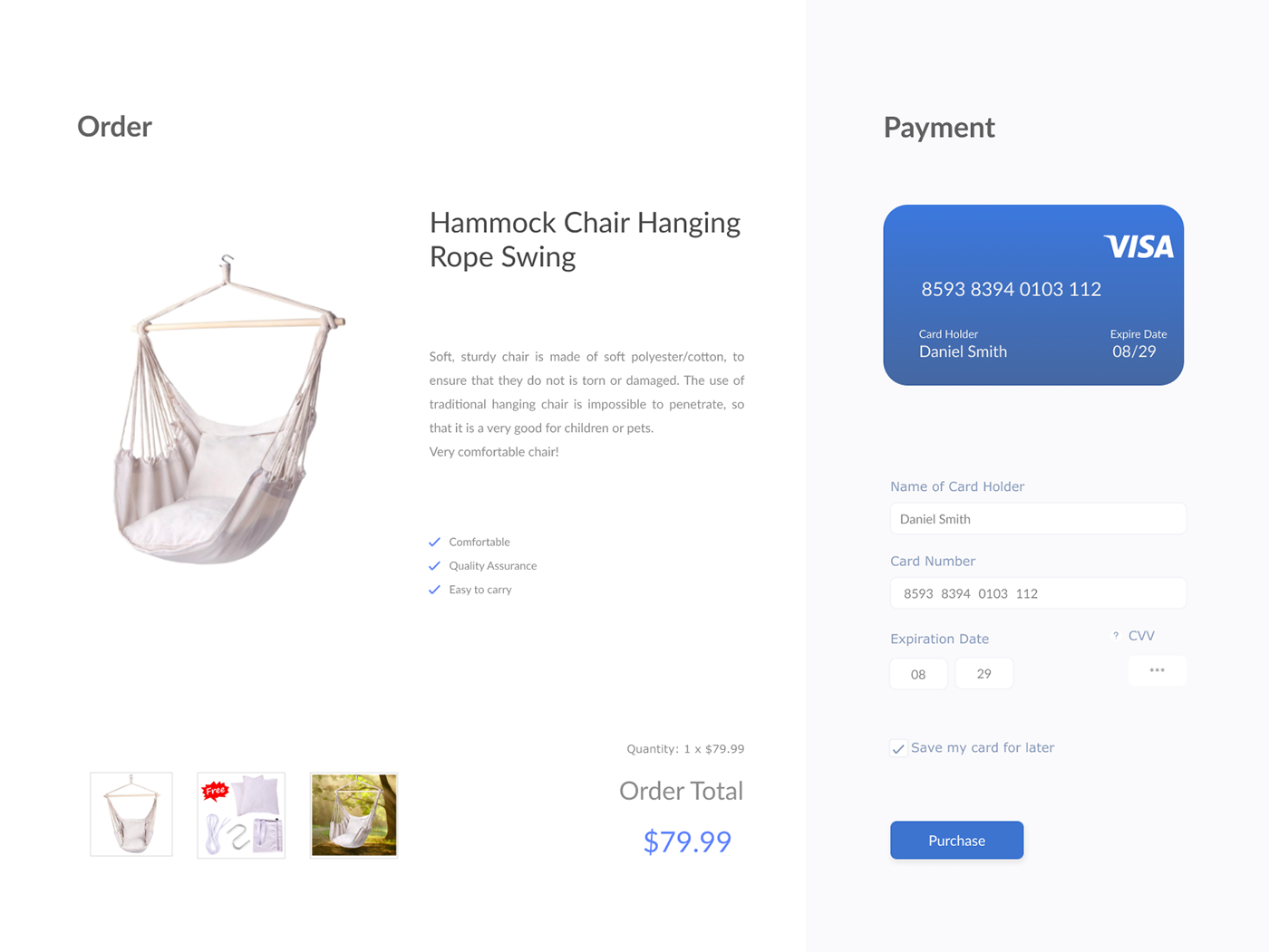 Daily UI #002- Credit Card Checkout