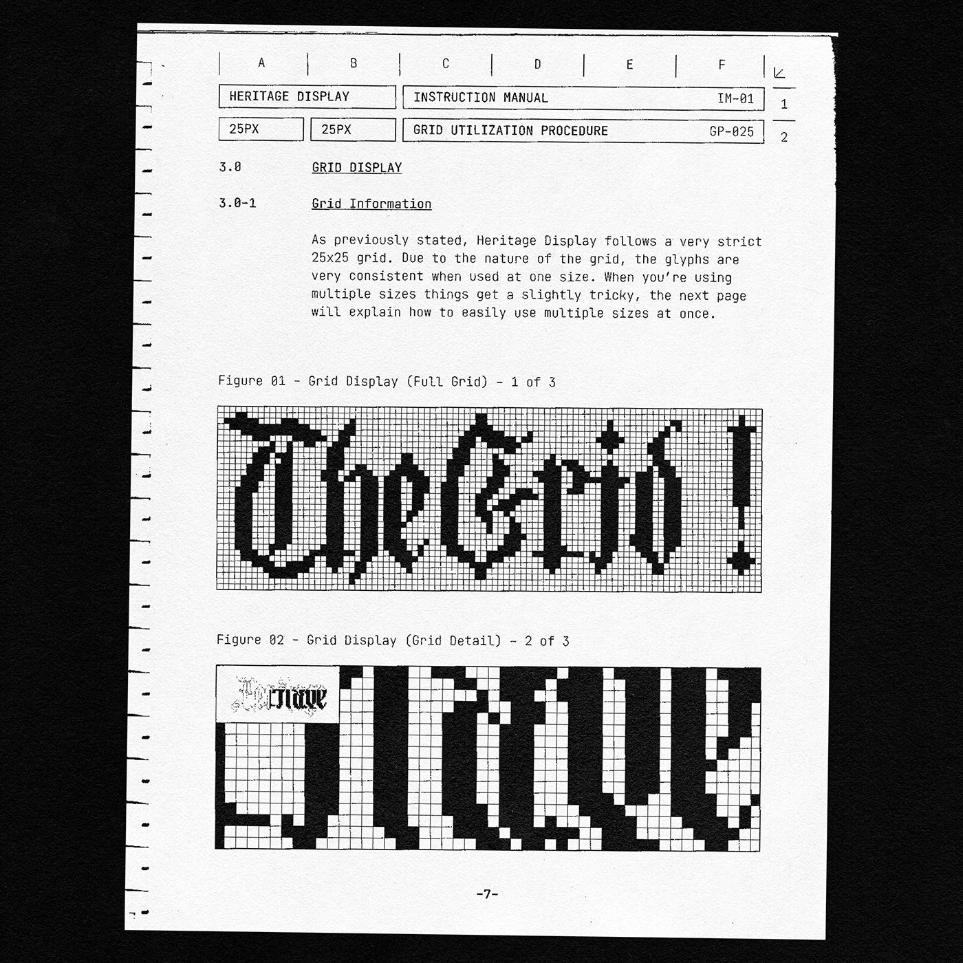 Archive Blackletter graphic design  grid pixel typography type design typography   vintage