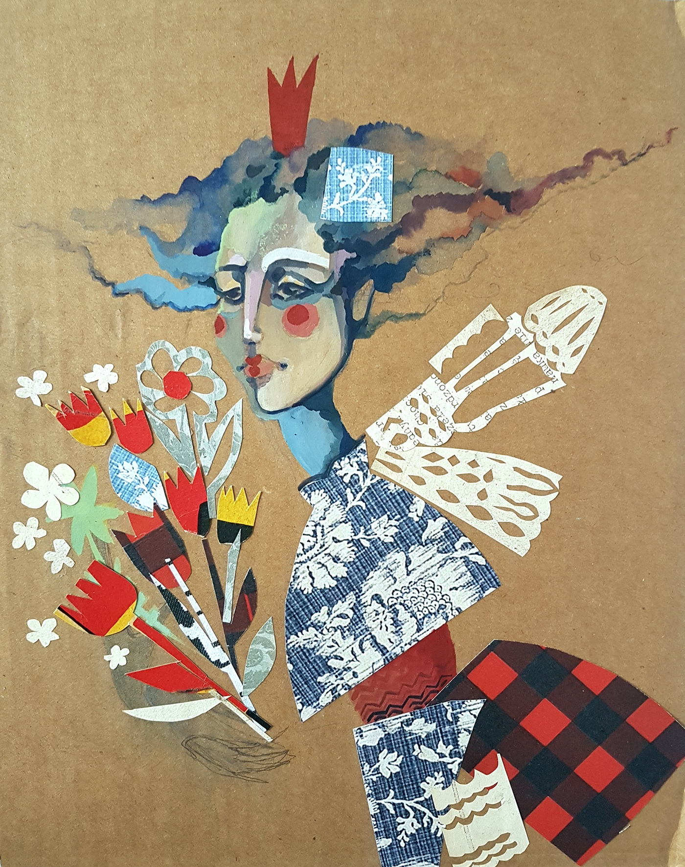 Flowers elf fairy woman musician collage