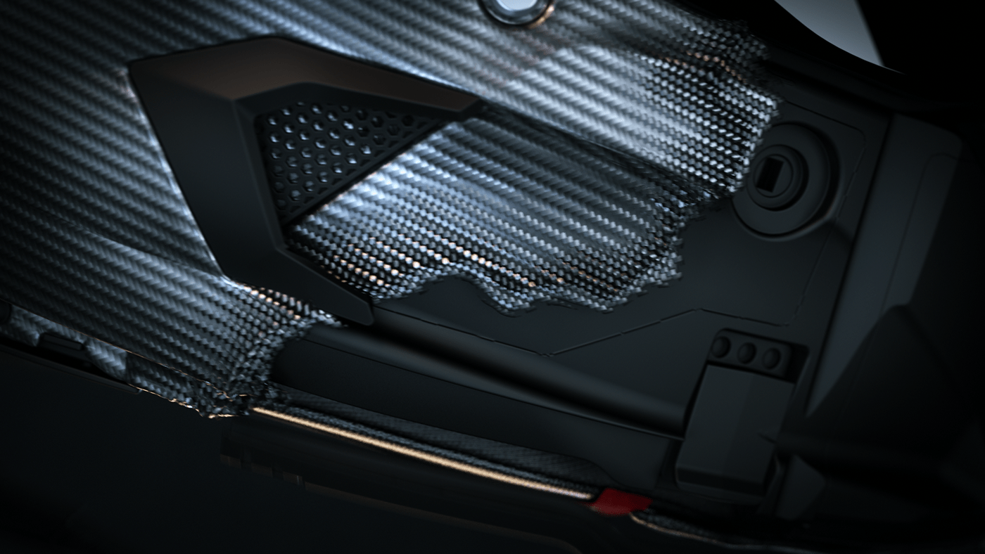 animation  carbon CG CGI cinema 4d Helmet motion design Render vfx