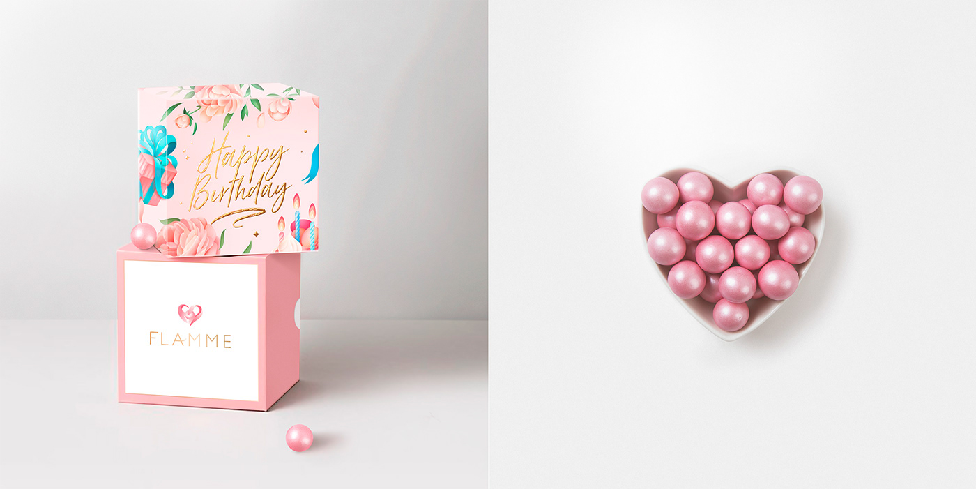Sweets box abstraction gift Minimalism pink