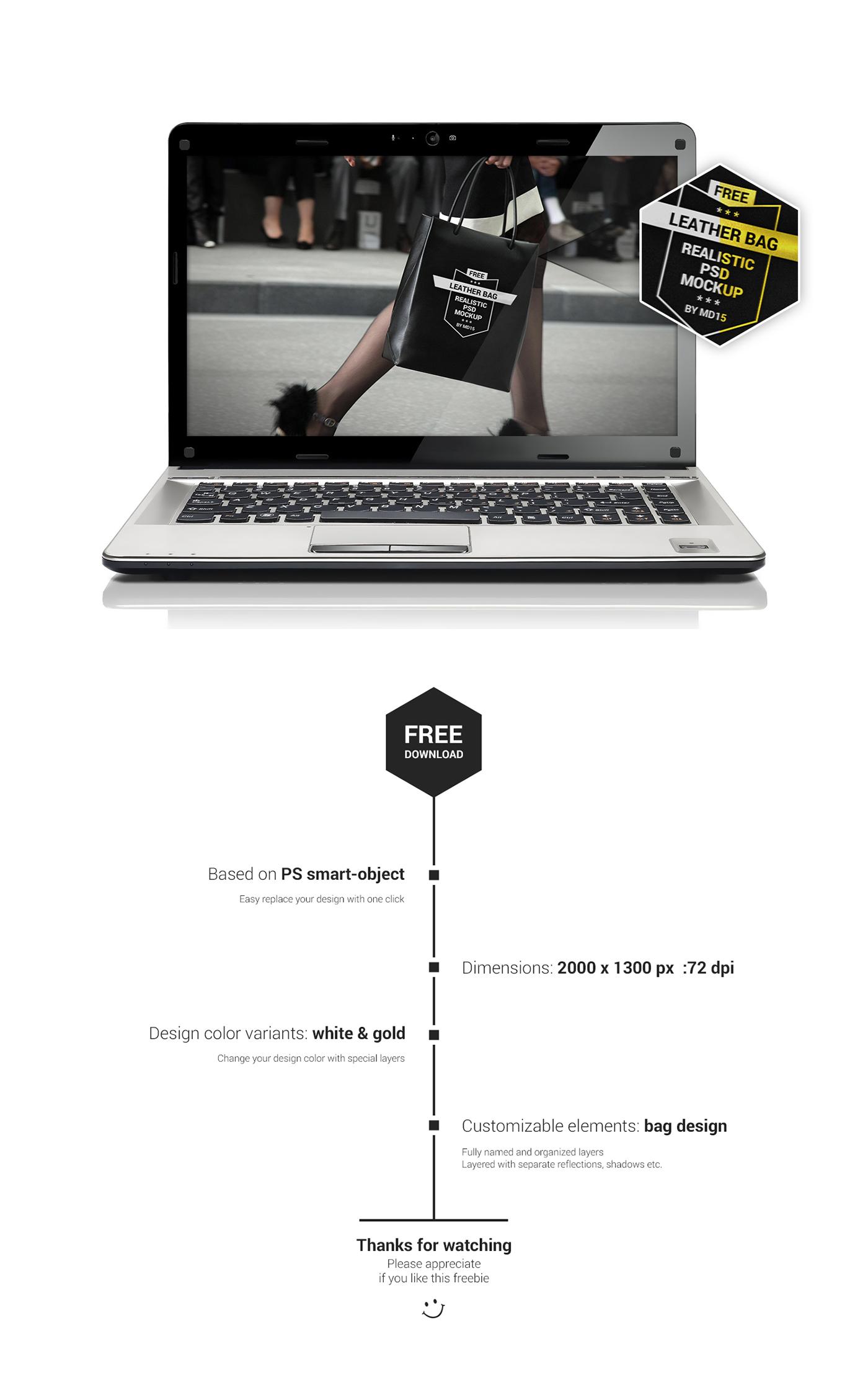 leather bag Shopping free psd Mockup branding  logo design