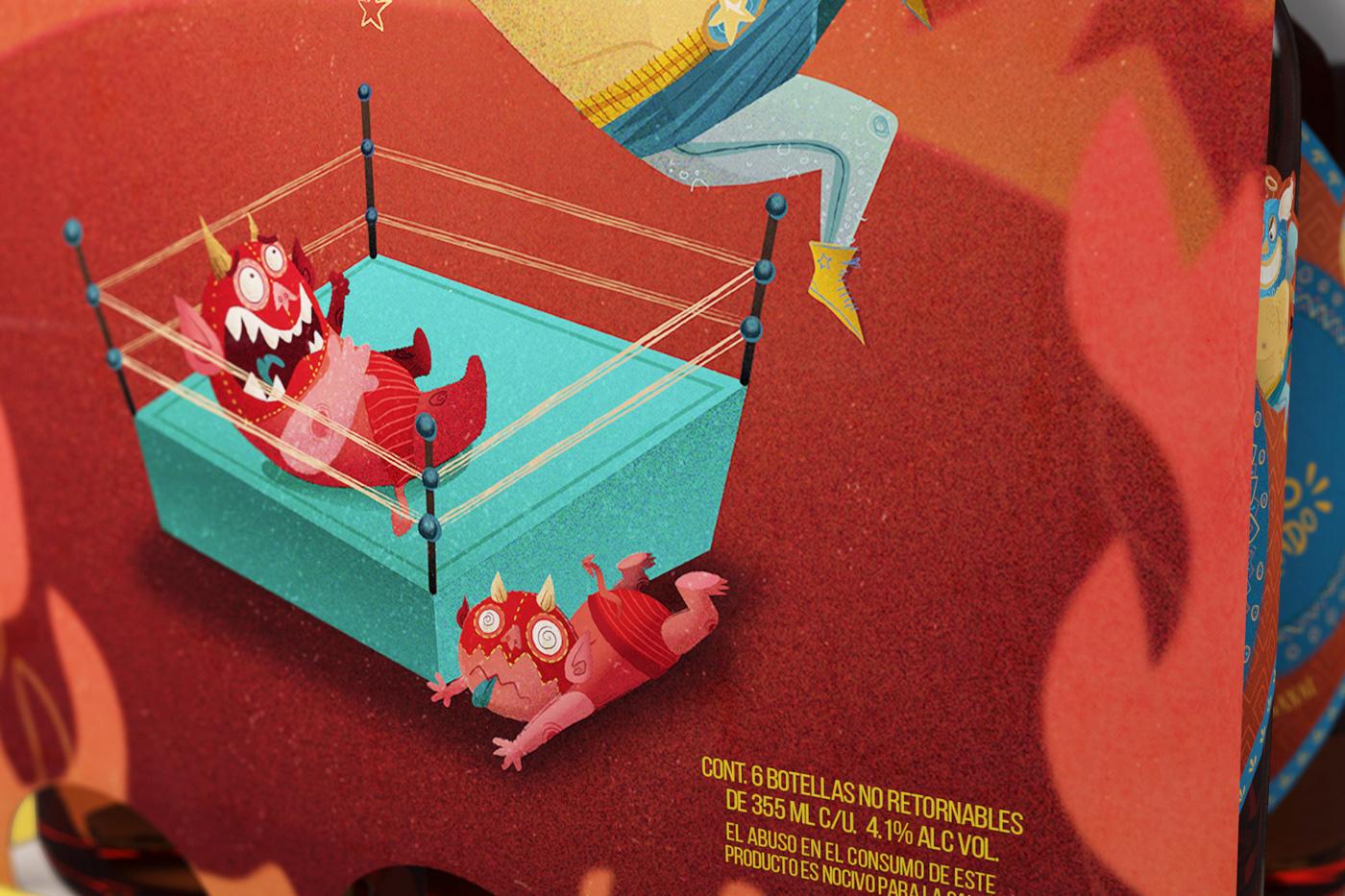 branding  Character design  Mexican Wrestling ILLUSTRATION  beer lucha libre lettering artesanal Packaging