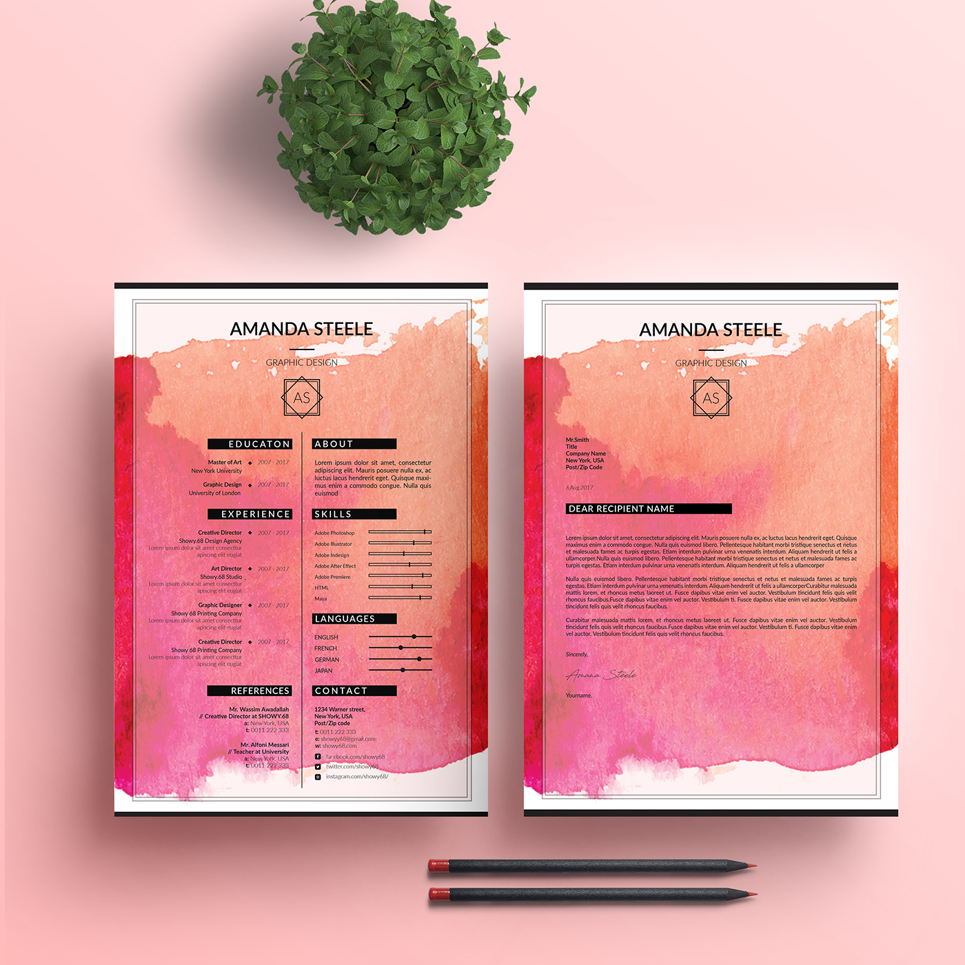 water color resume template    cv template   letterhead on