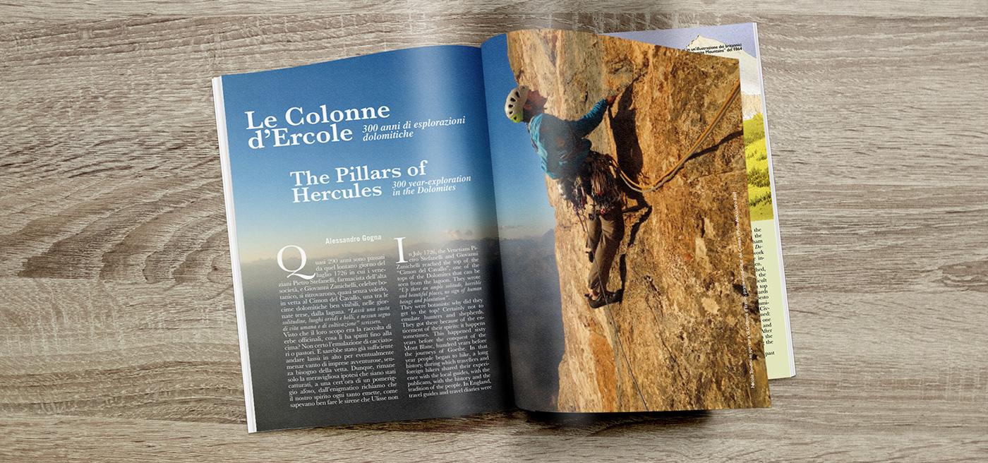Dolomiti premiere magazine brochure identity brand dolomites UNESCO Layout graphic design Picture photo Nature trentino