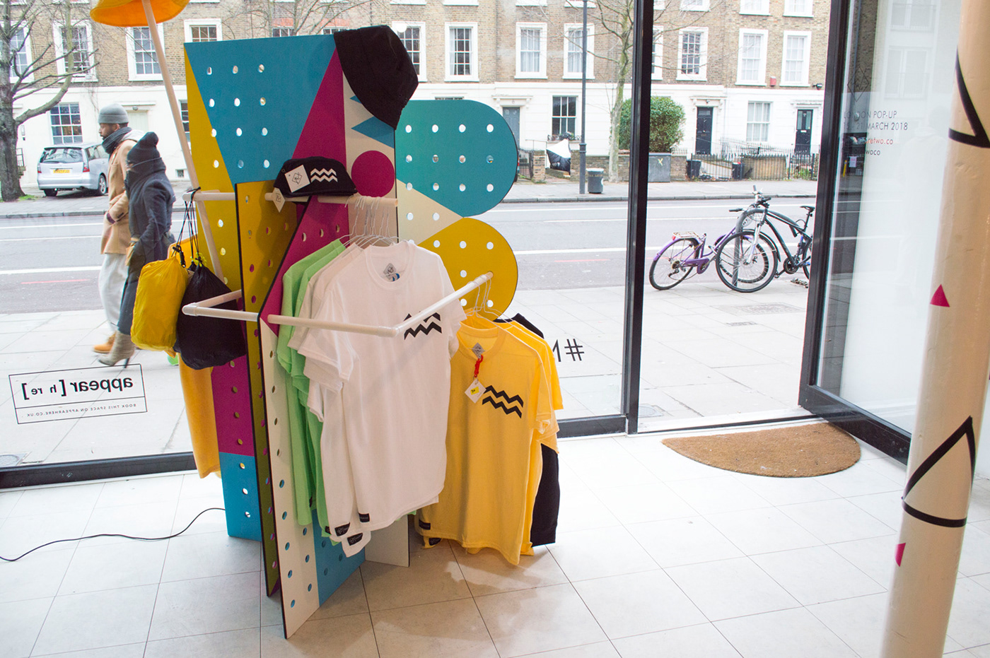 wood clothing rail Visual Merchandising Pop-Up Shop Display colour graphic