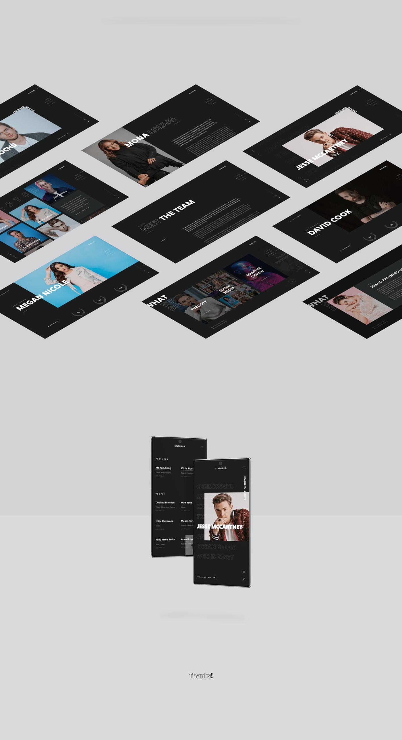 pr music artist Web Design  creative ostellar Interaction design  firm publicity Entertainment