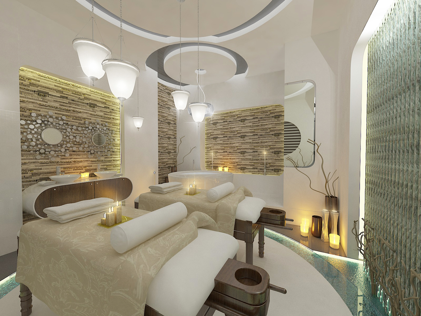 spa treatment room design on behance