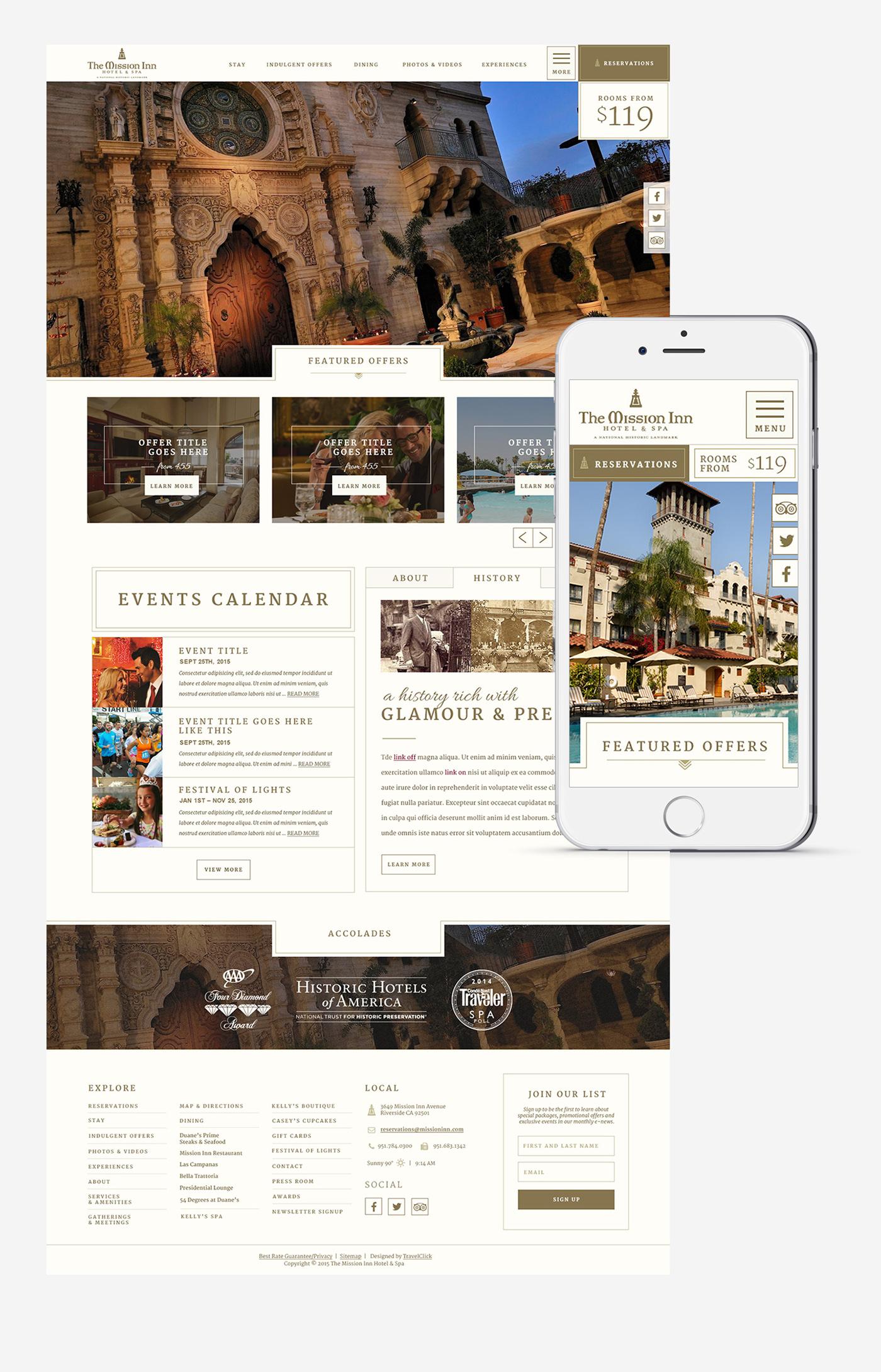 hotel hostpitality resort historical Website Webdesign Responsive UI conversion ux
