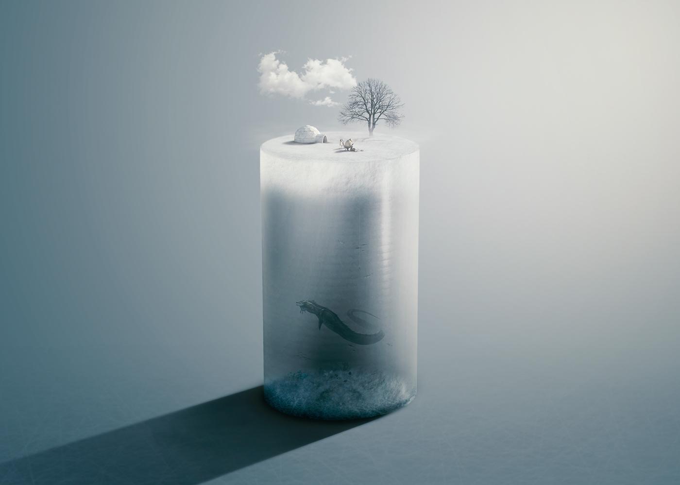 Deep Ice Fishing Photo Manipulation in Photoshop