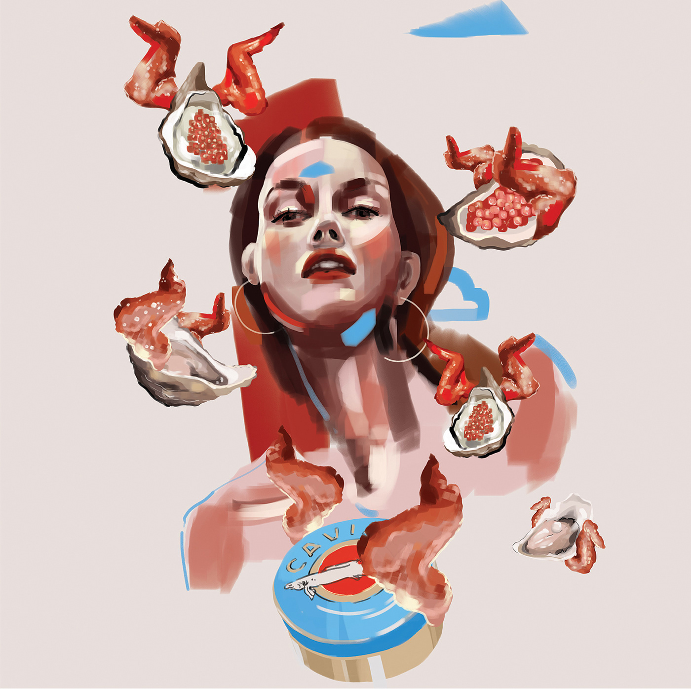 caviar chicken Food  juicy oysters painting   portrait wings woman