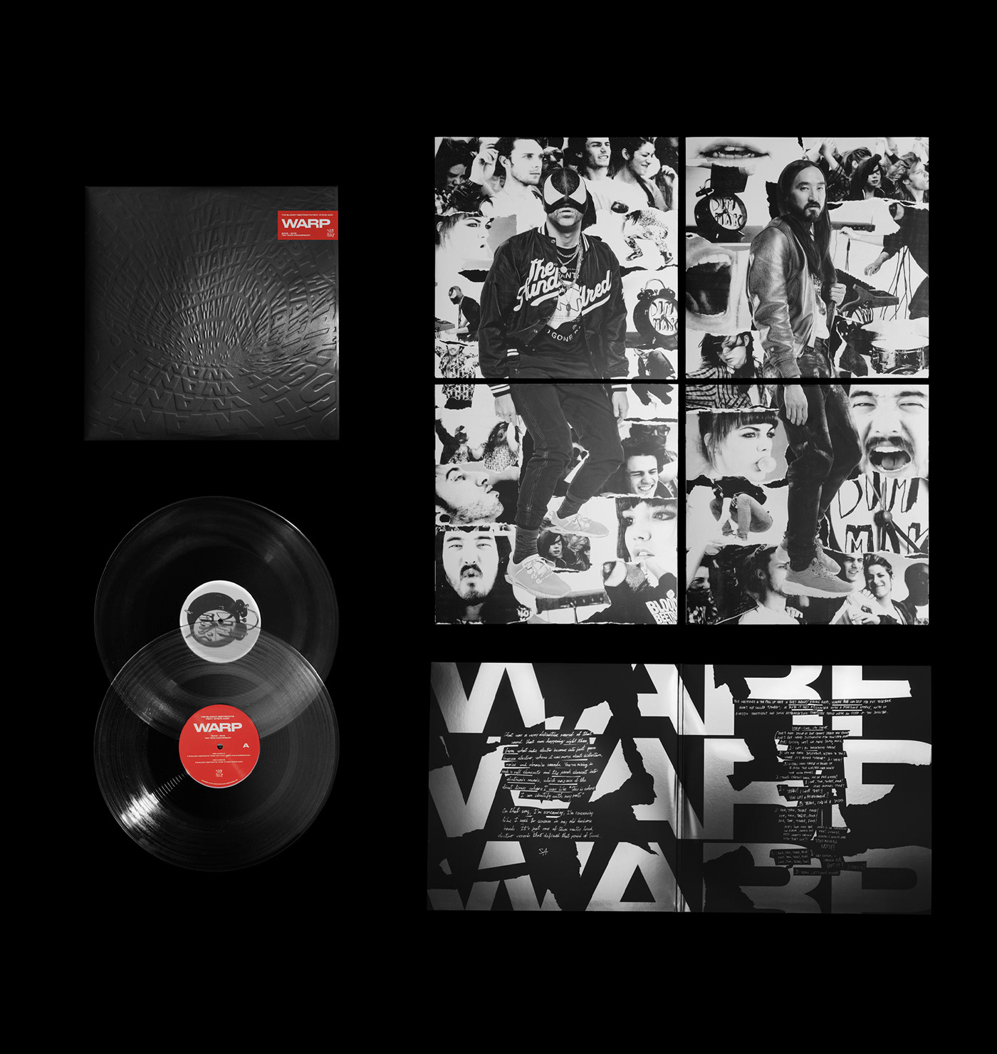Monochrome Album Design for WARP - Steve Aoki and cie