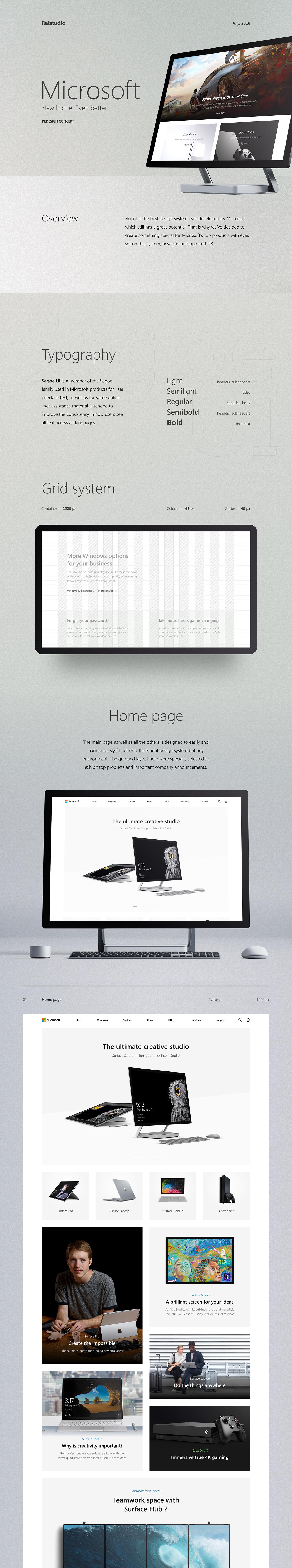 Microsoft redesign redesign concepts Responsive flatstudio flat landing Hololense windows Office365 xbox