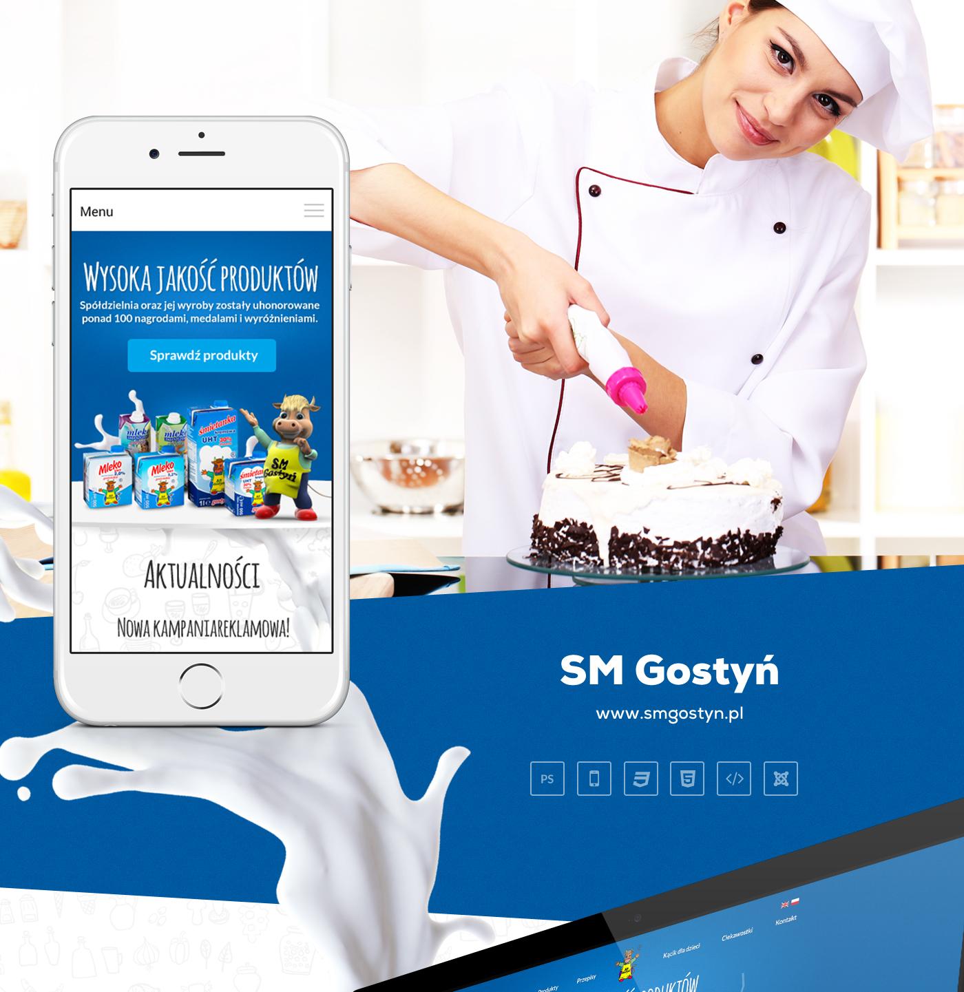 Web design graphic UI ux mobile Responsive adstone milk poznan poland