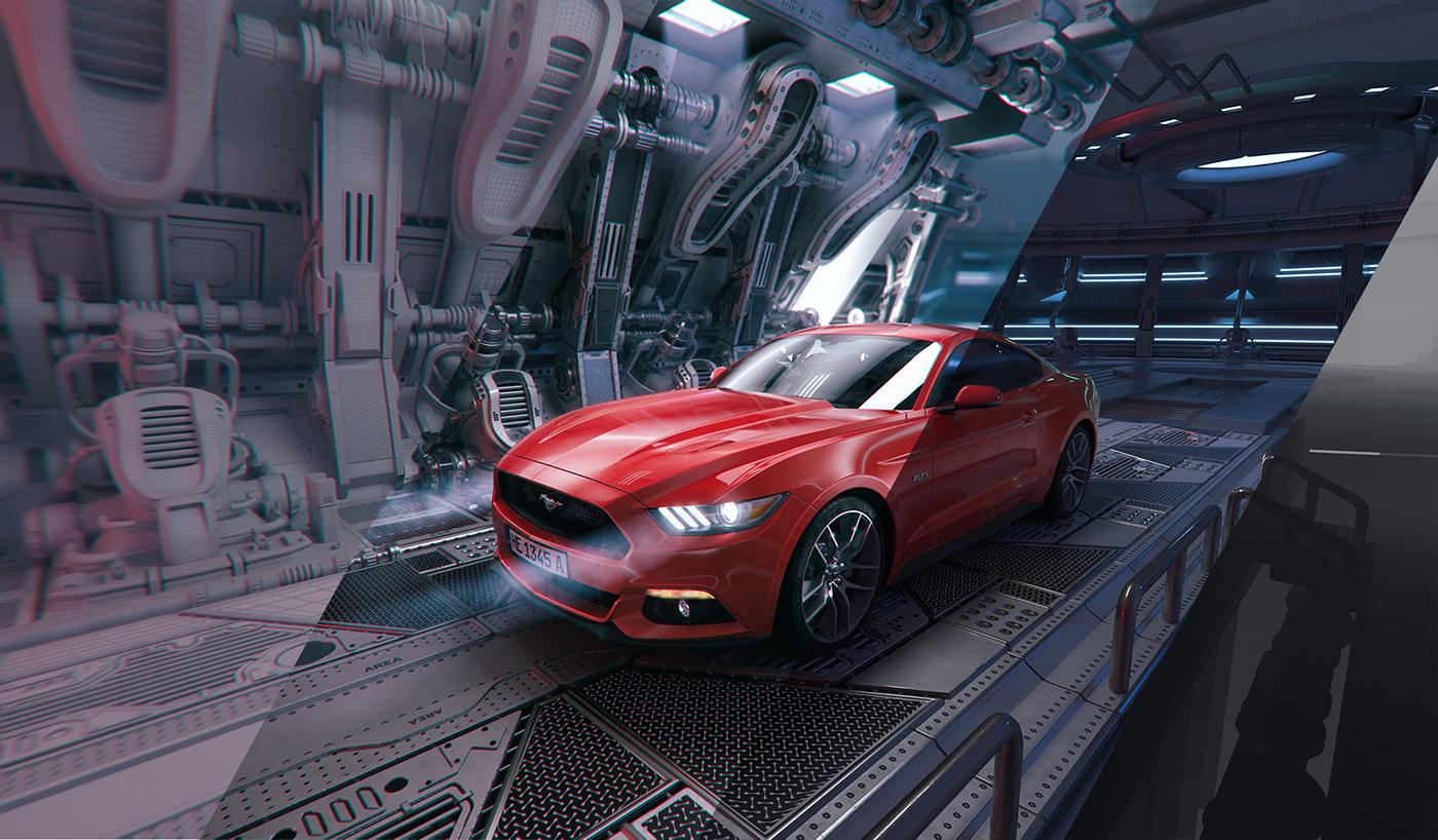 Mustang,visual,poster,artwork,speed,car,Scifi,metallic,environment,3D