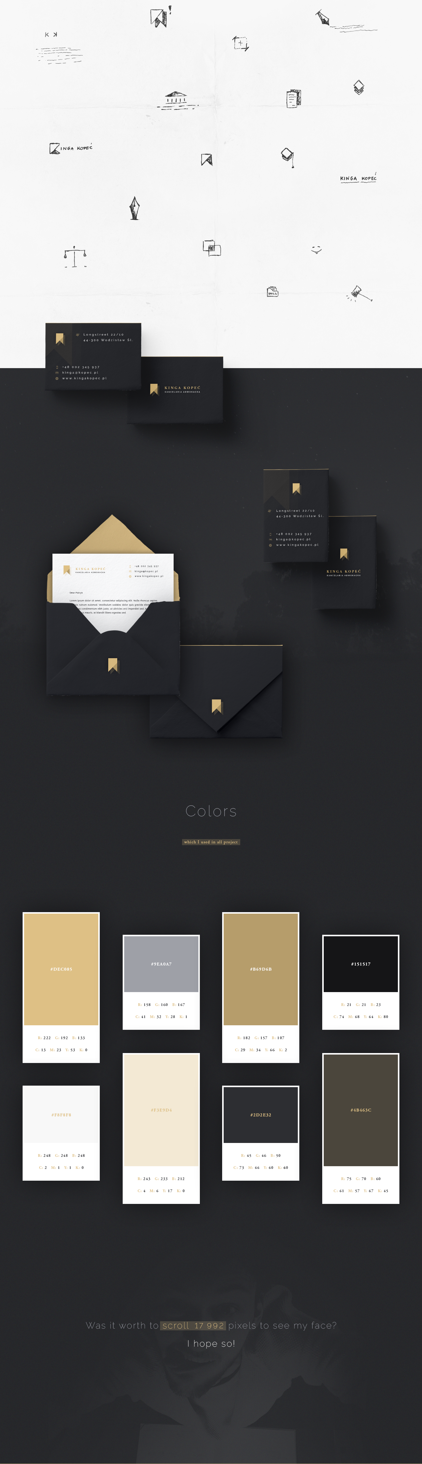 advocate Office kinga kopec Website design logo Business Cards envelope designer patryk kopec gold gray UI ux