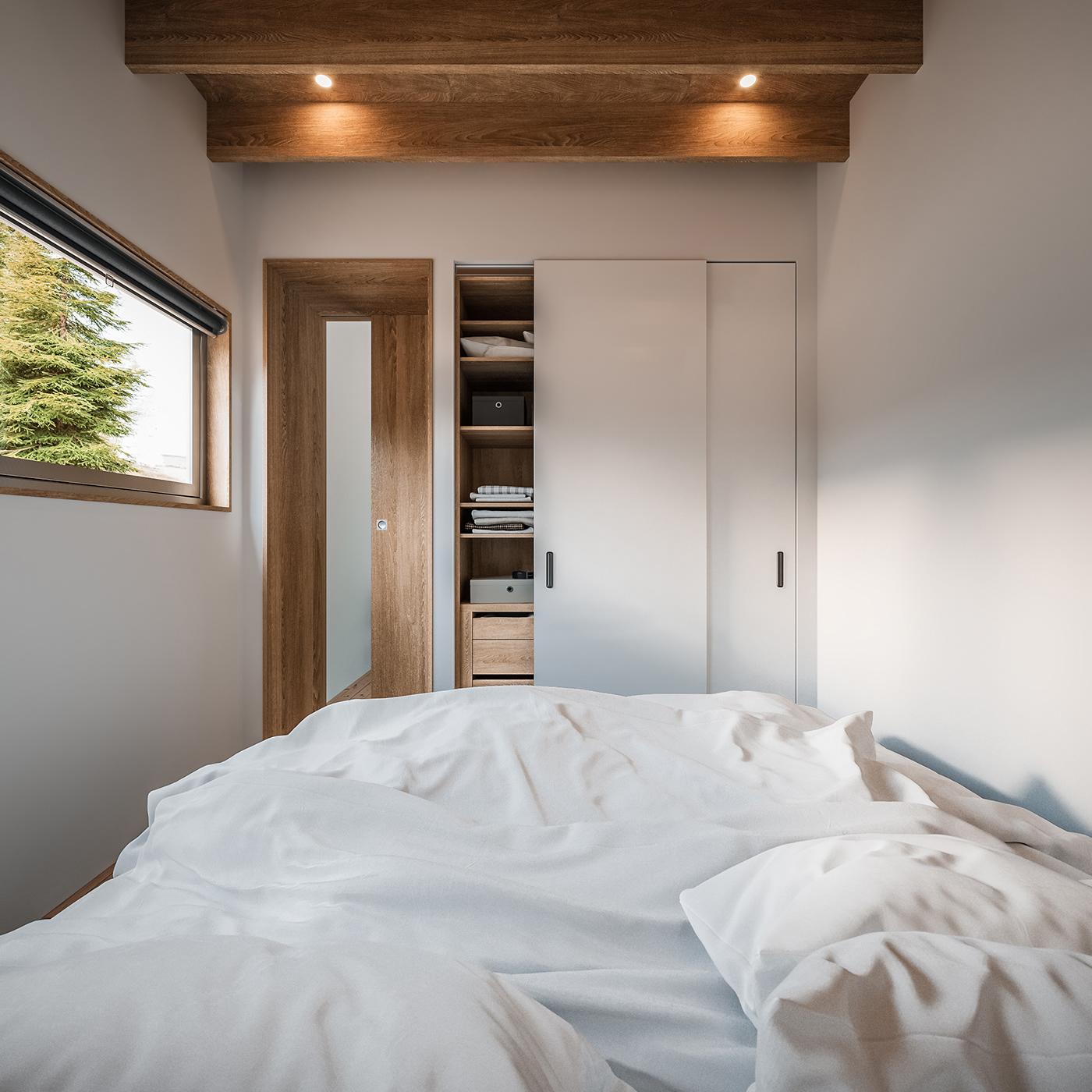 3D architecture archviz cabin CGI corona house Interior Render visualization