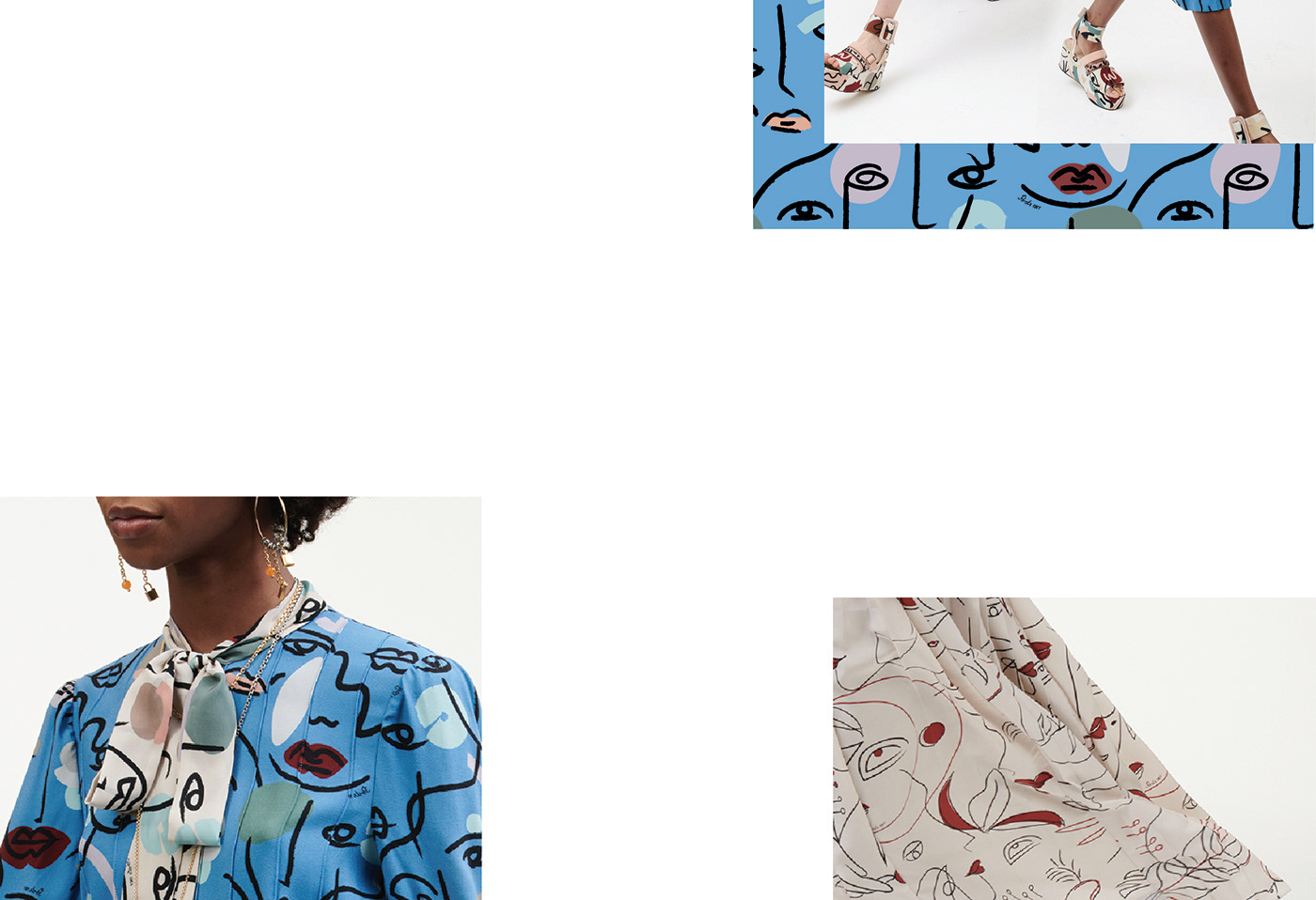 Fashion design, Illustration on fabric,