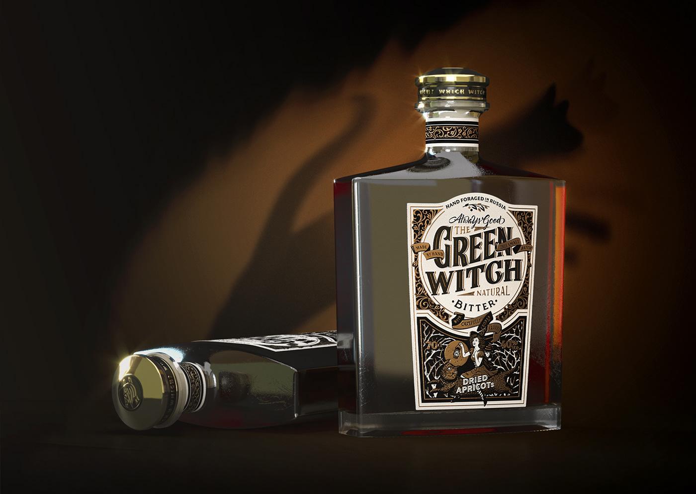 green witch bitter bottle natural Spirits drink handmade lettering