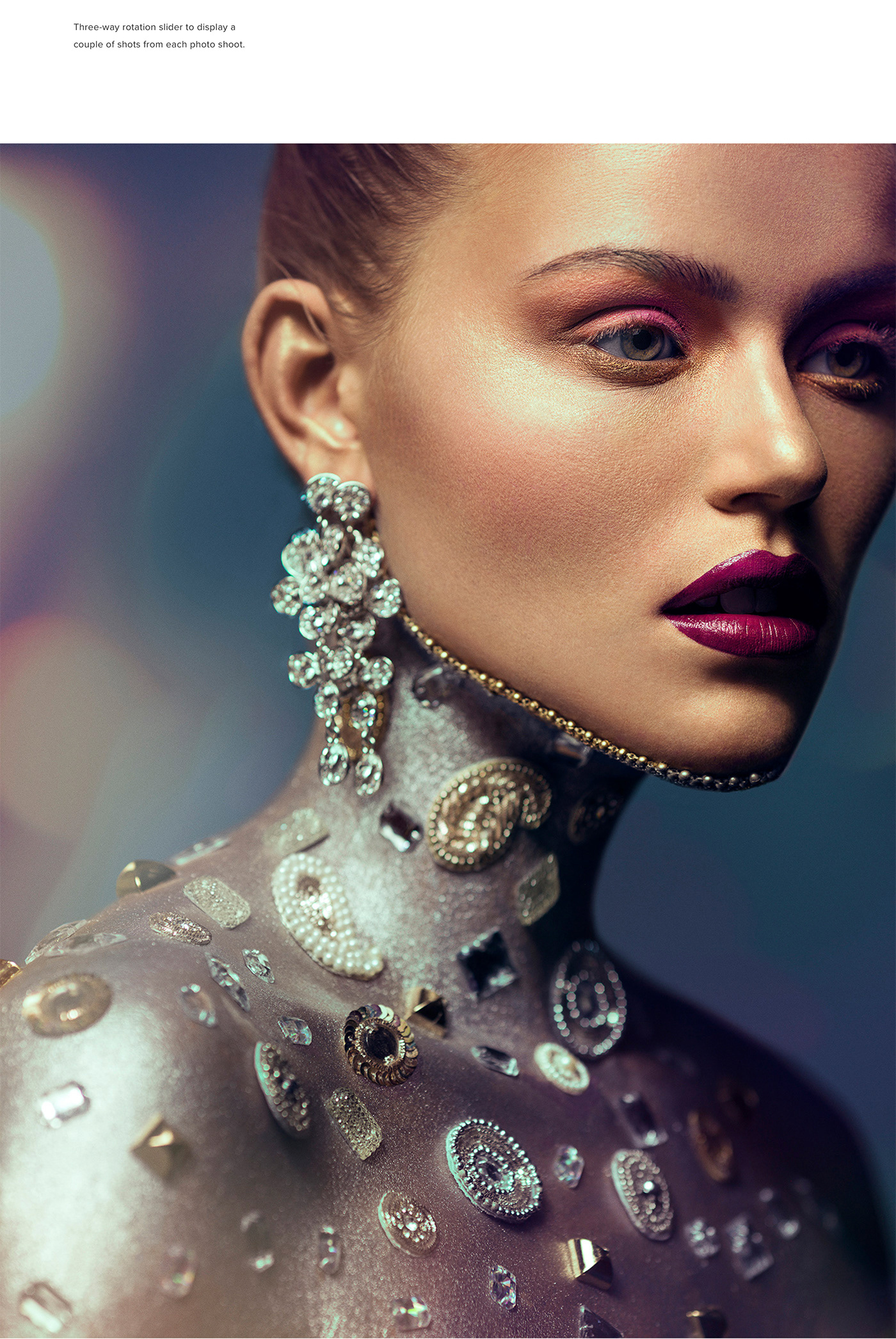 Fashion photography with a beautiful posing model wearing diamonds and colorful make up