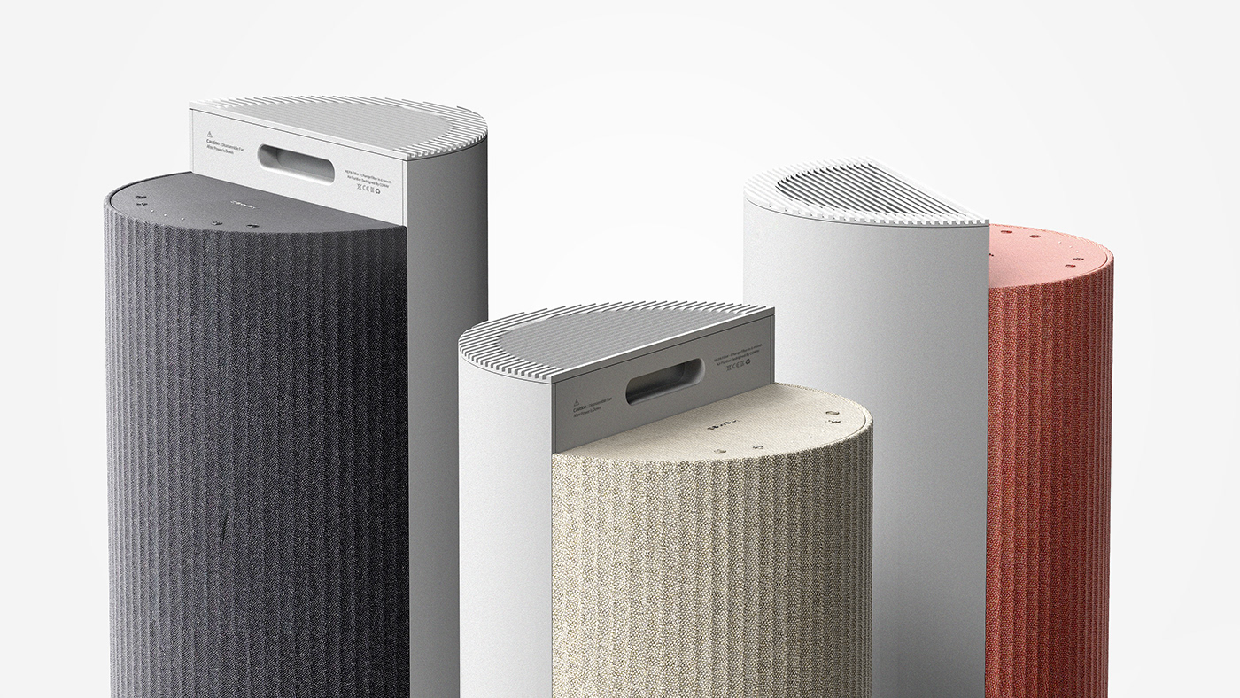 fabric Interior air cleaner AirPurifier design industrial industrial design  product productdesign rendering