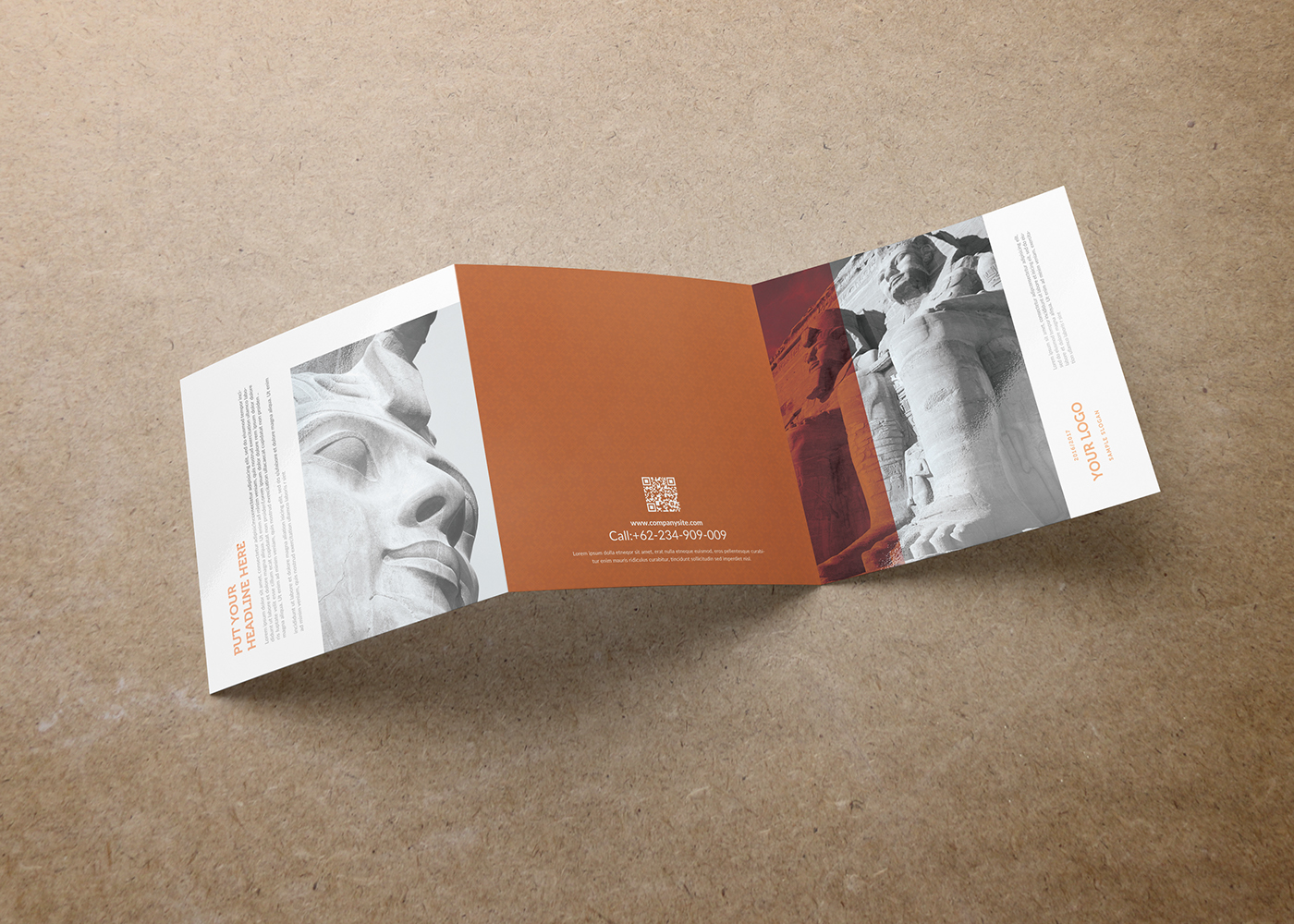 egypt square trifold brochure template on behance