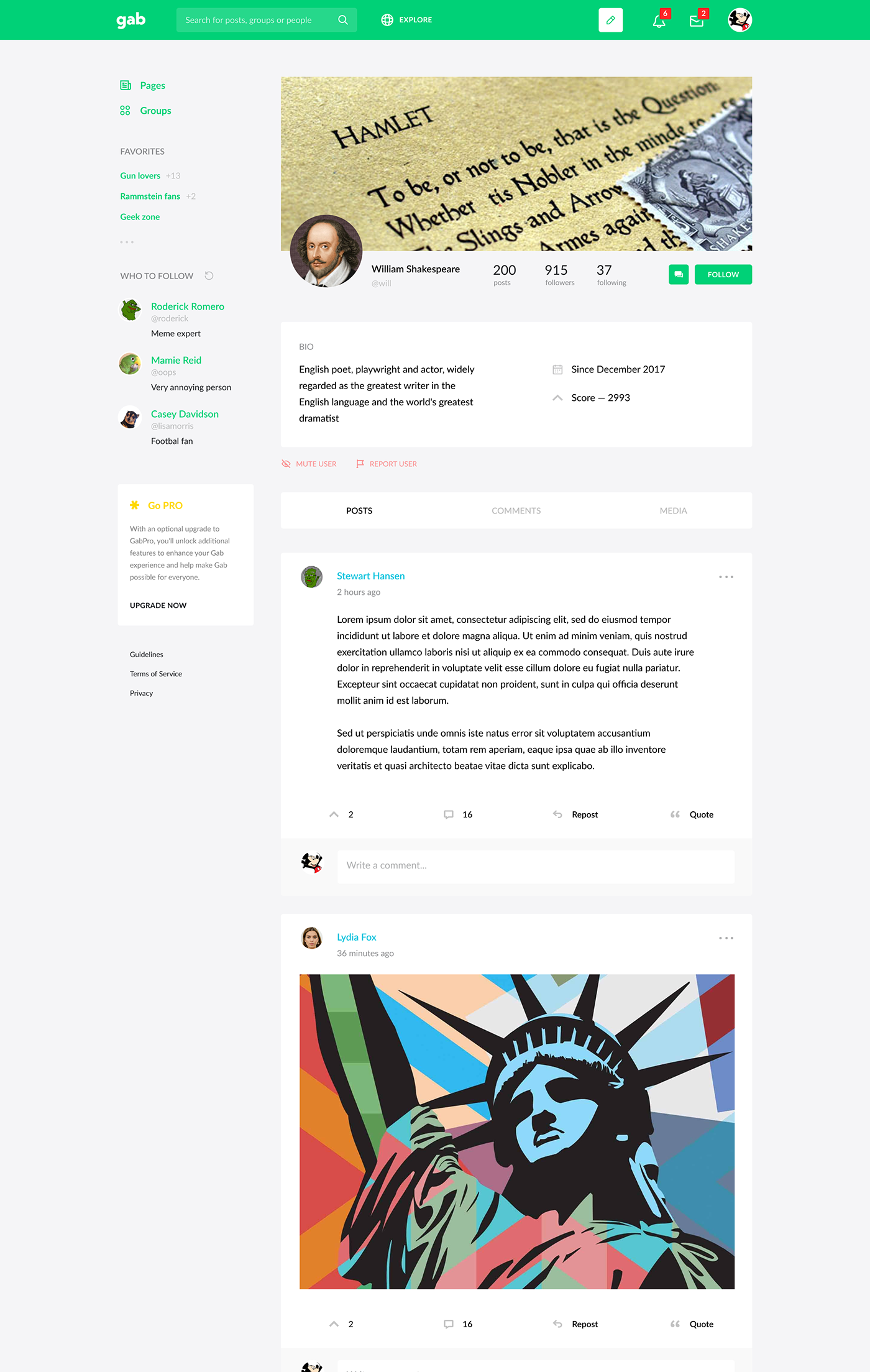 social network messages feed gab facebook social profile Startup posts network