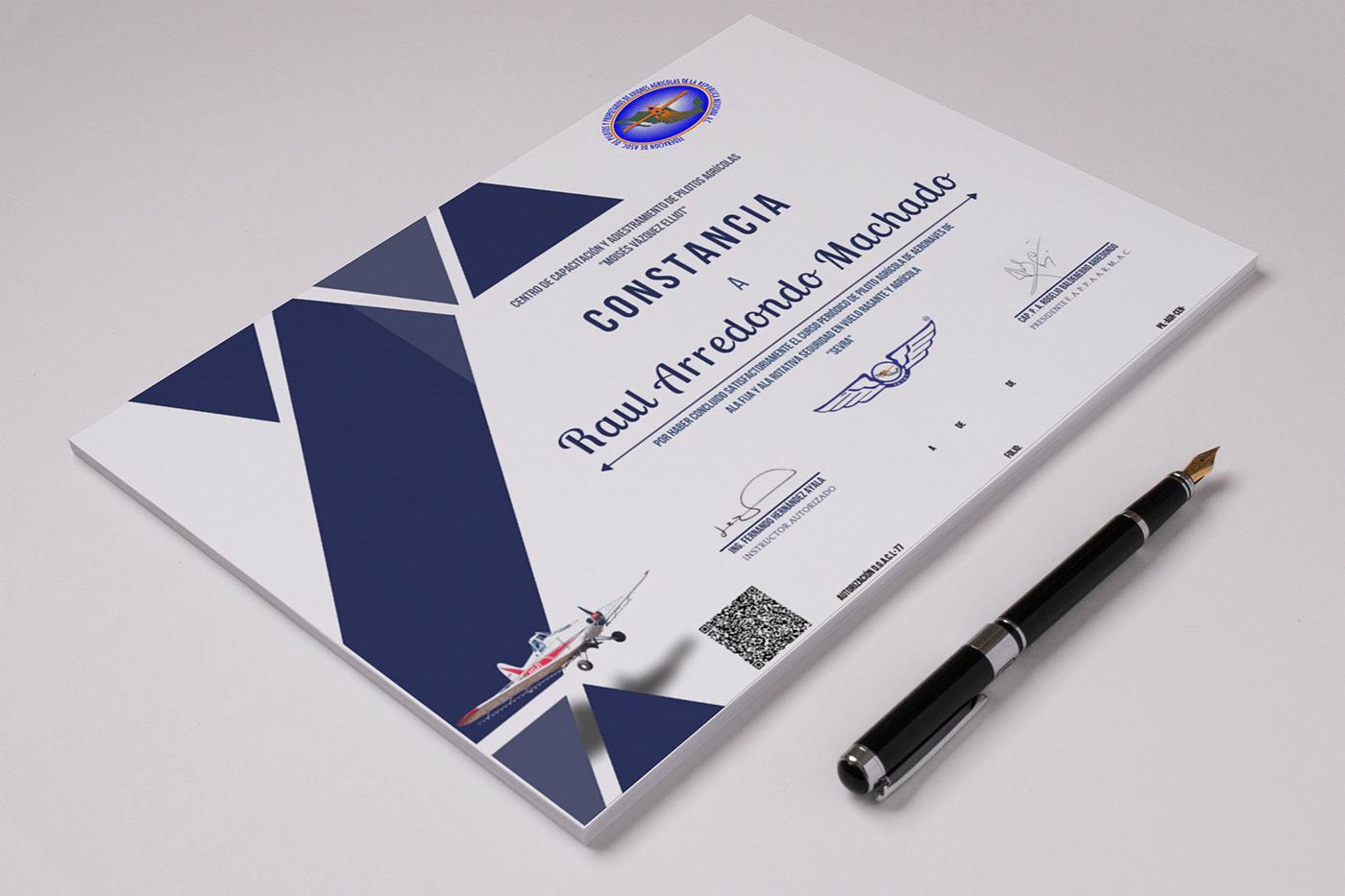 aviacion Certificado Constancia diploma diseño grafico JEEMDEV Papeleria Pilotos rediseño