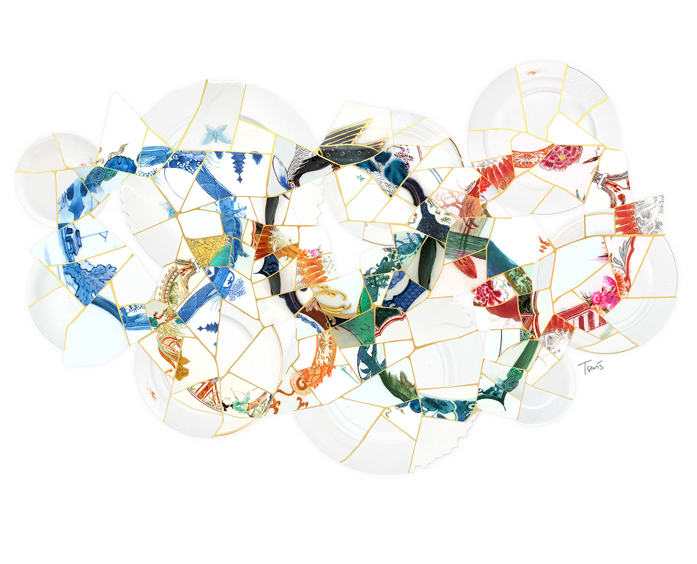 The Olympic Rings created as Kintsugi art.