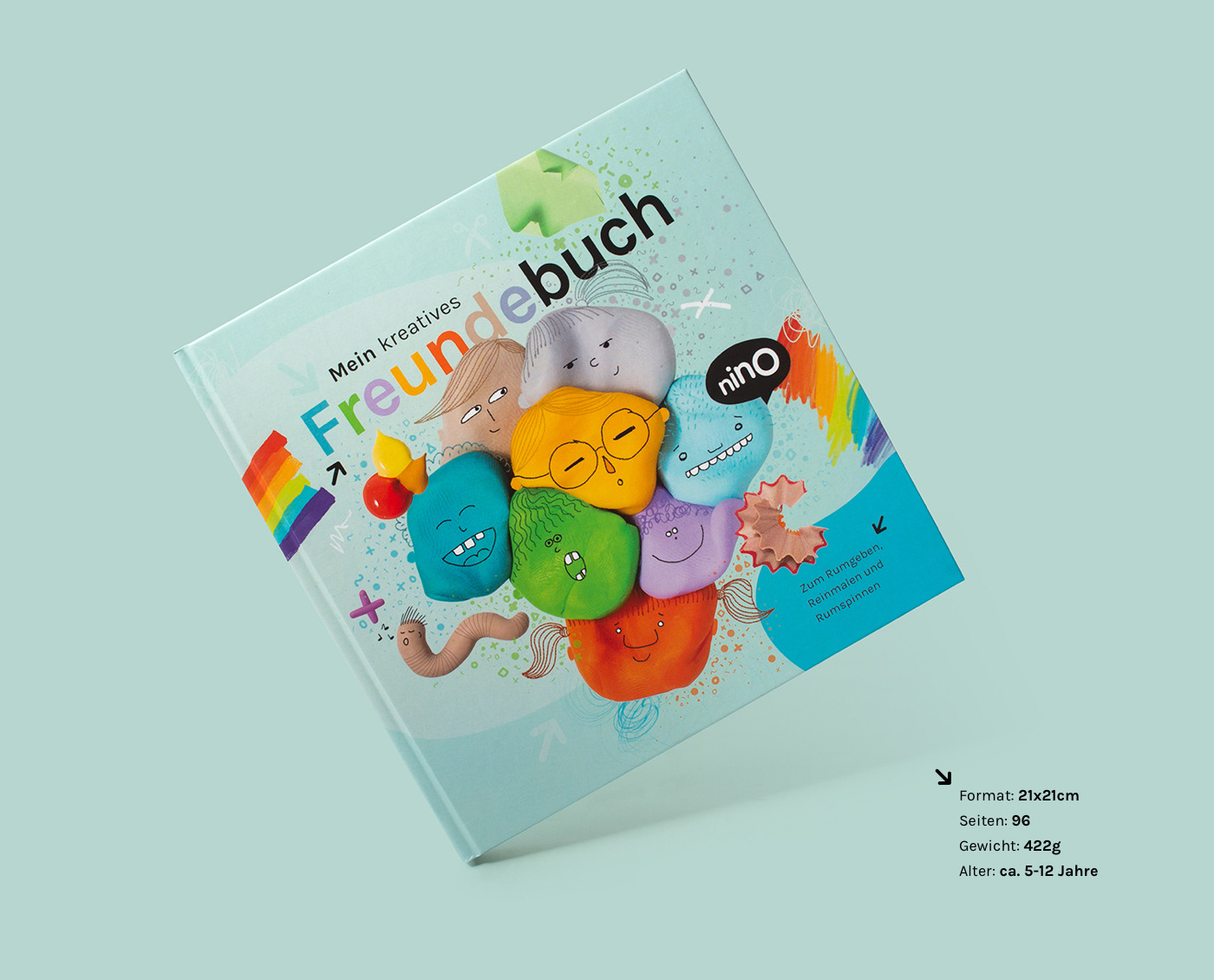 clay Freundebuch collage mixedmedia book friendship book kids book kids product kids brand Corporate Design