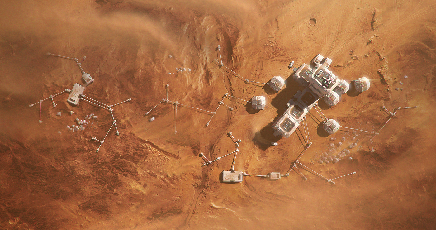 mars planet top view Mining base colonisation Mattepainting concept art sand Space