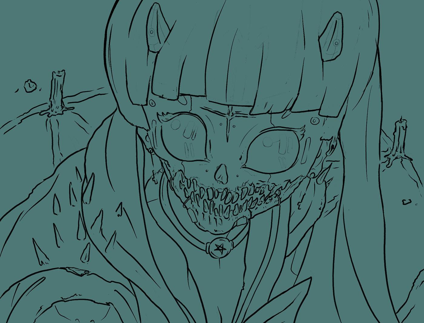 anime challenge Character dither evil ILLUSTRATION  manga Pentagram robot sailor moon redraw Satan skull