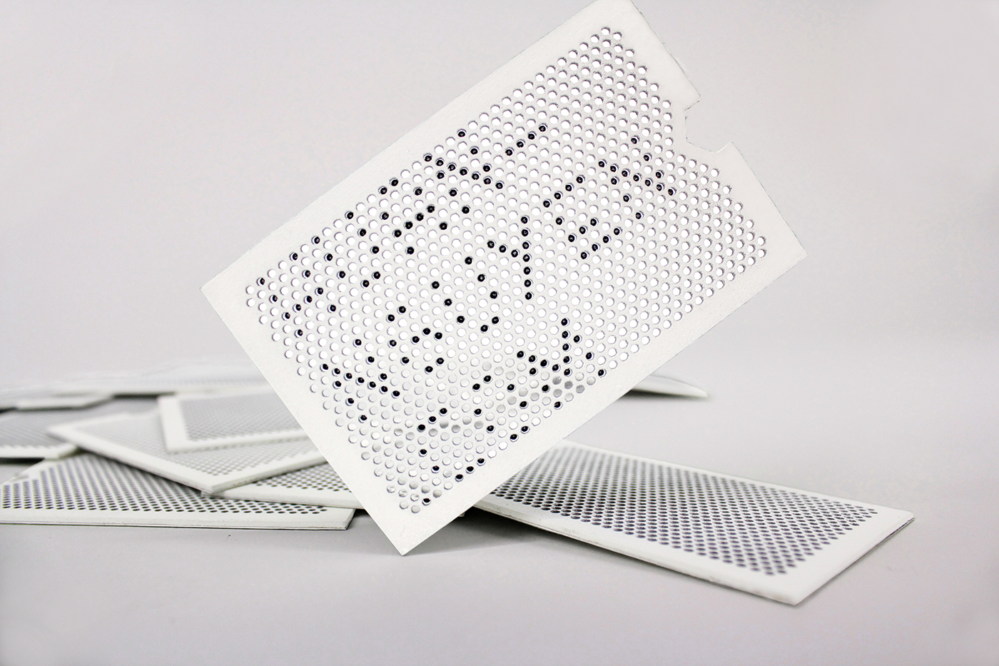 experimental business card dot matrix laser cutting