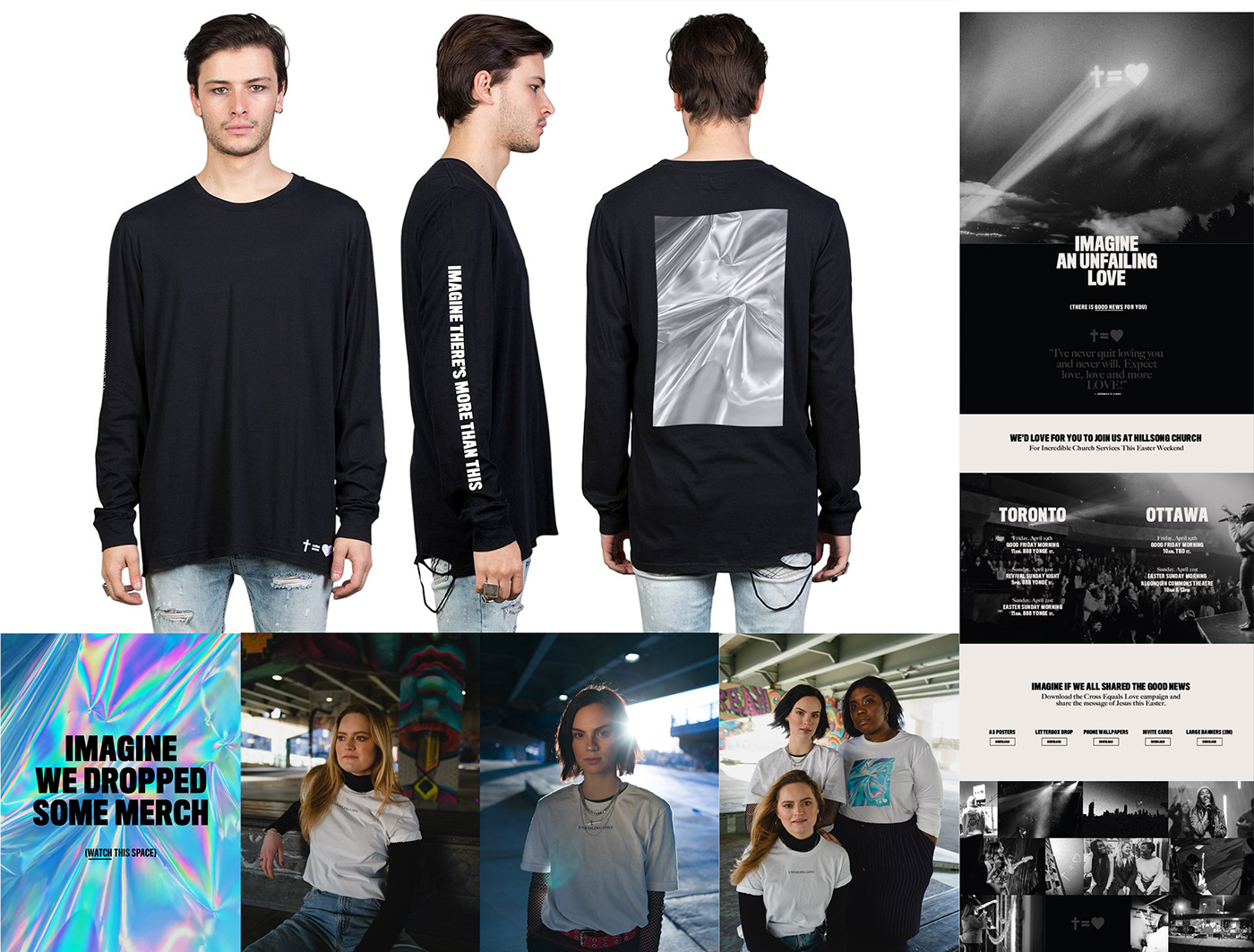 Advertising  church Creative Direction  cross equals love Easter hillsong Media Collective Merch street campaign Web